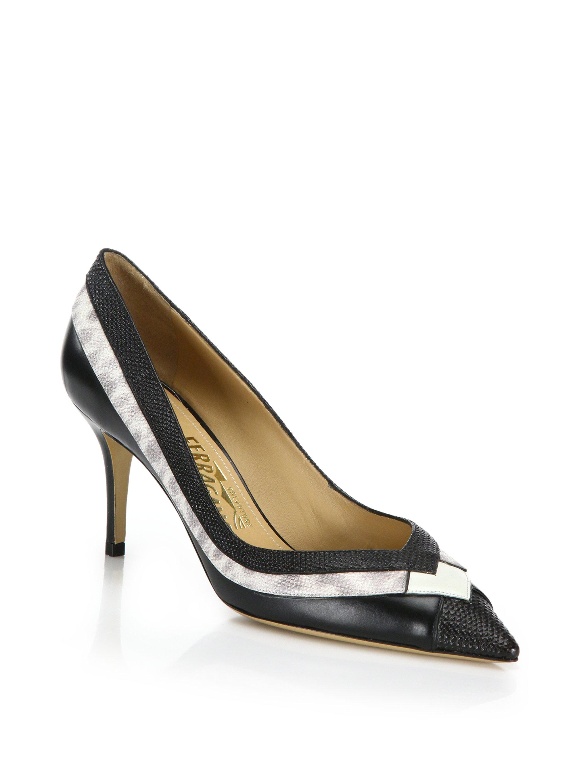 1c4fce67f7a Ferragamo - Black Susi Python-embossed Leather Stripe Mid-heel Pumps - Lyst