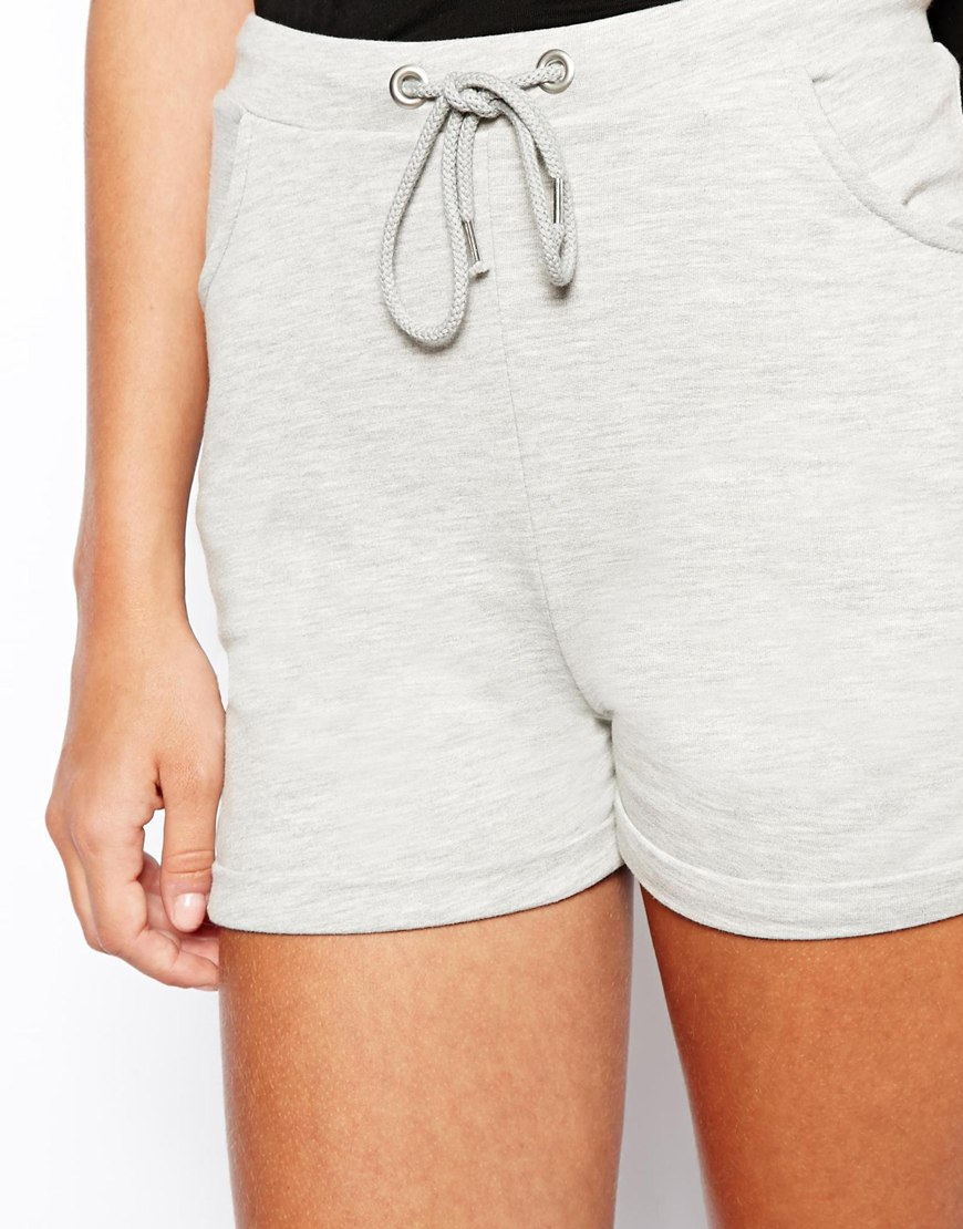 Asos High Waisted Shorts In Sweat Fabric in Gray | Lyst