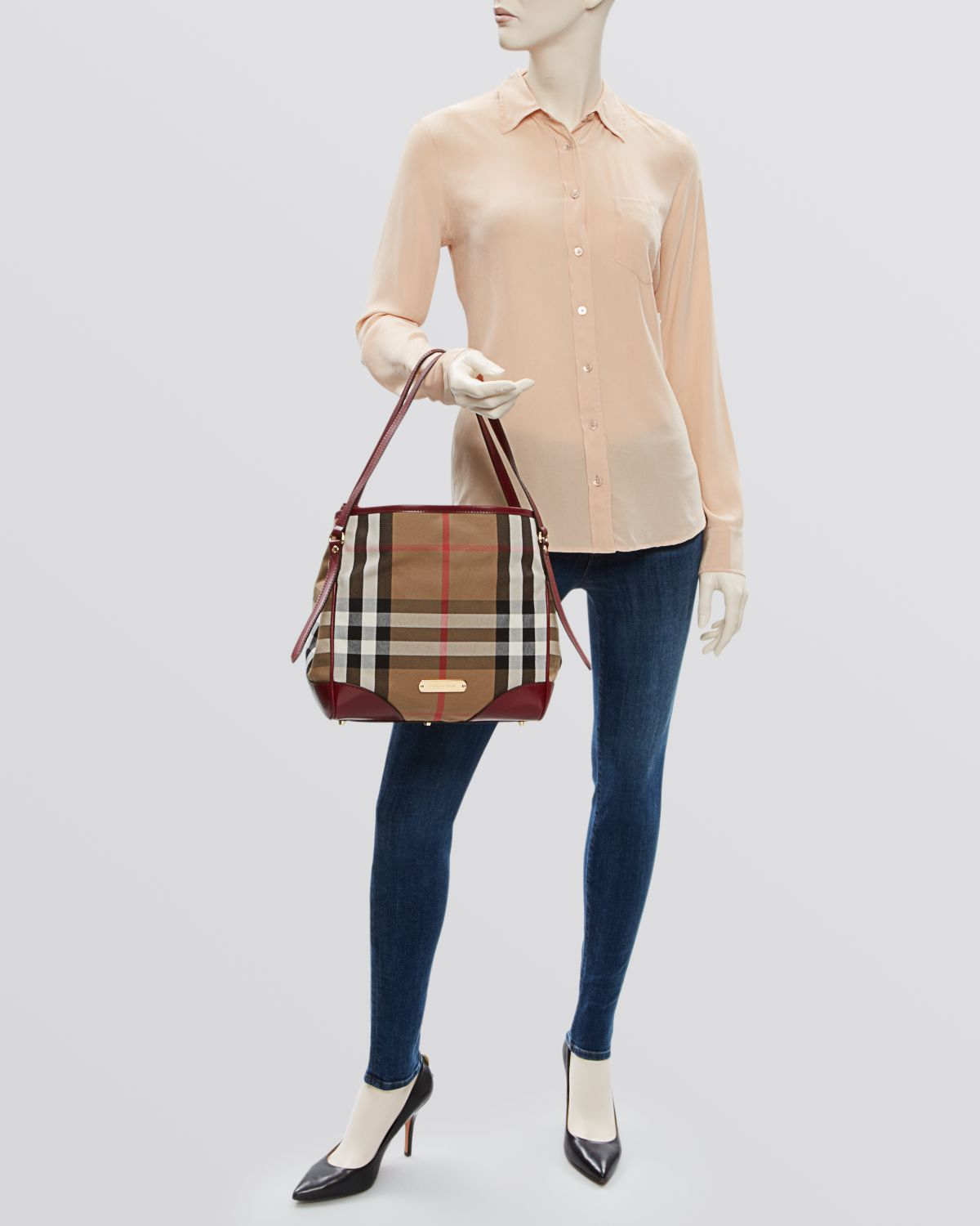 c6c3cad5ab0e Lyst Burberry Tote Bridle House Check Small Canterbury In Brown