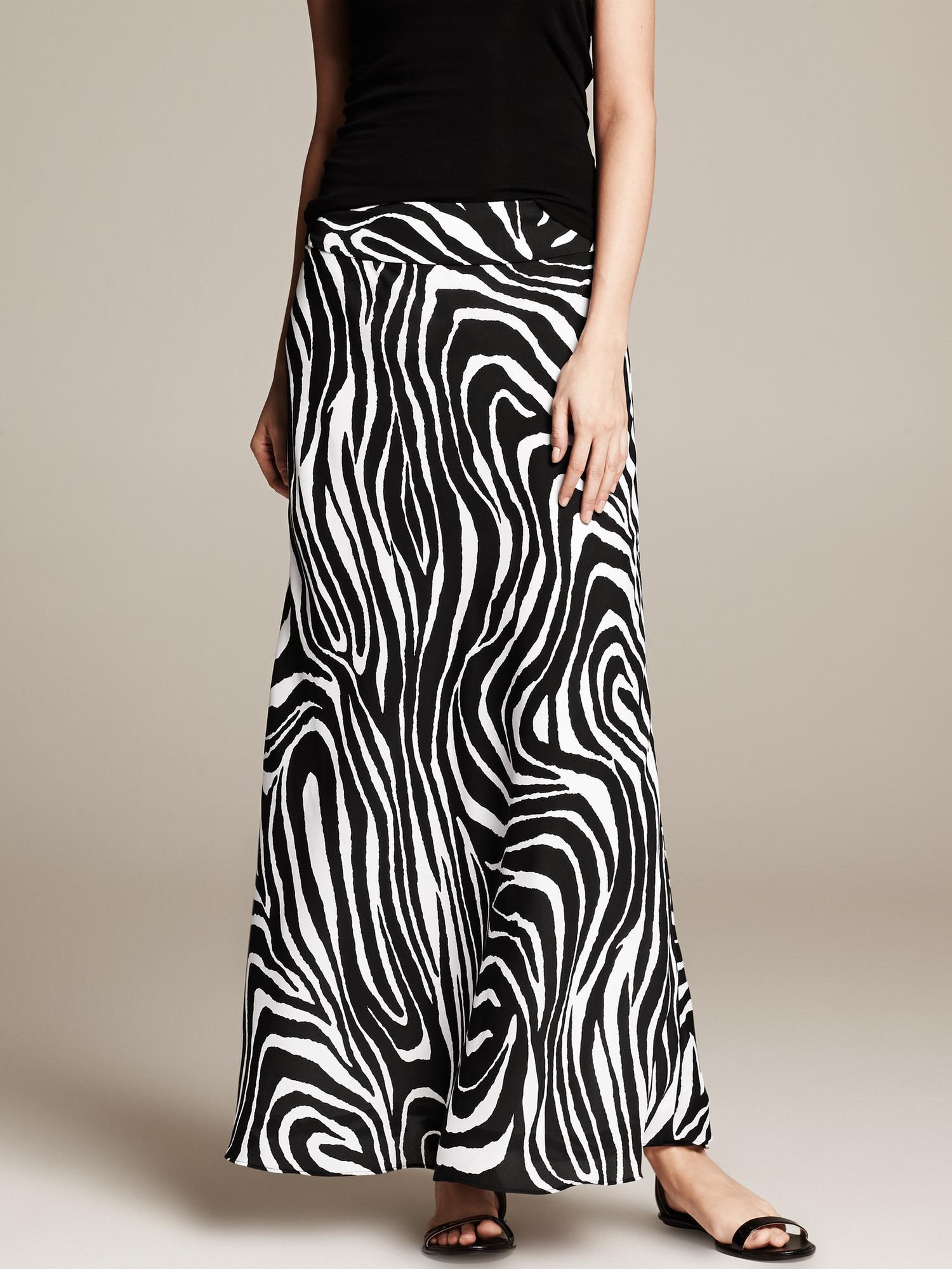 Banana Republic Zebra Print Patio Skirt Black In Black Lyst