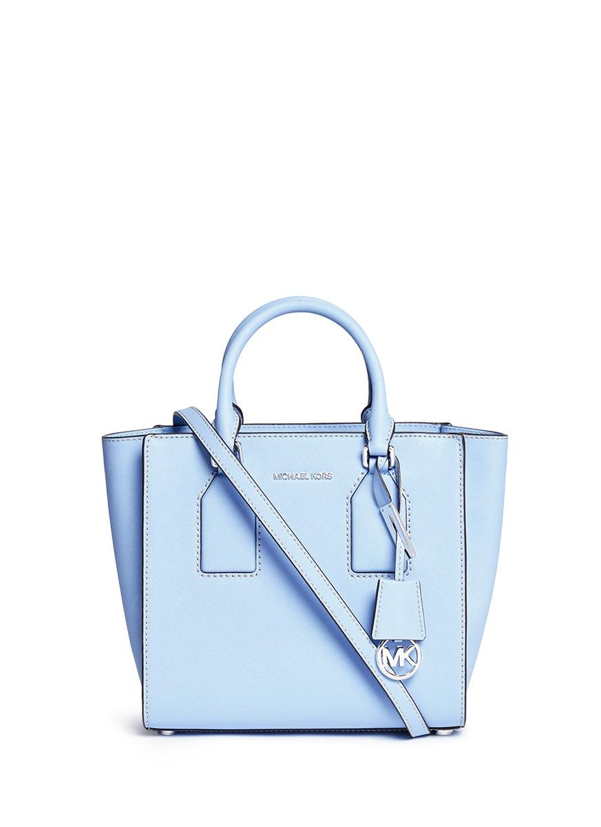 michael kors 39 selby 39 medium saffiano leather satchel in blue lyst. Black Bedroom Furniture Sets. Home Design Ideas