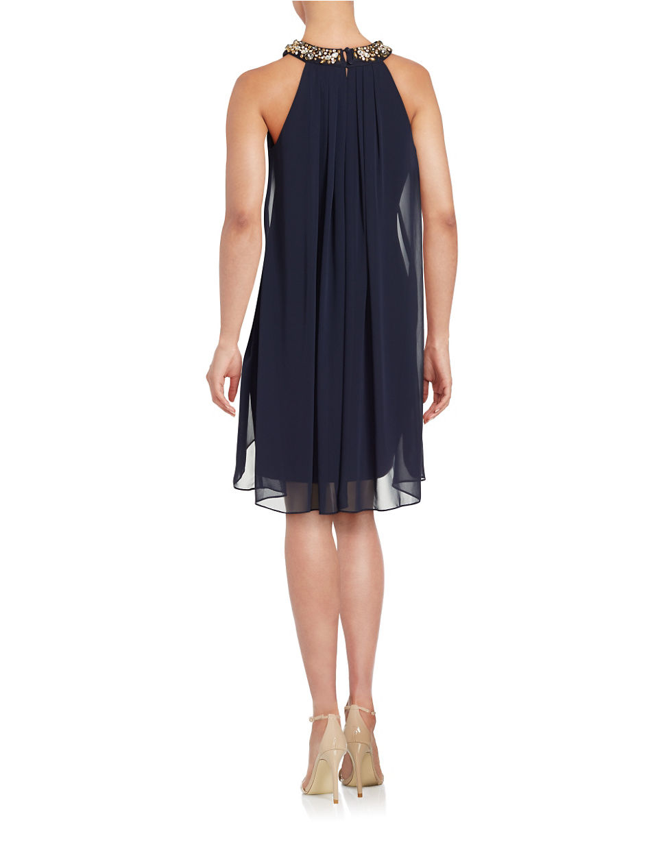 Vince camuto Pleated Overlay Dress in Black