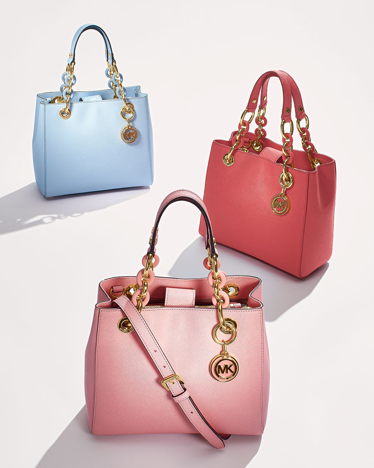 87016729ce67 ... discount code for lyst michael kors cynthia small satchel bag in blue  3e5d2 7ba65