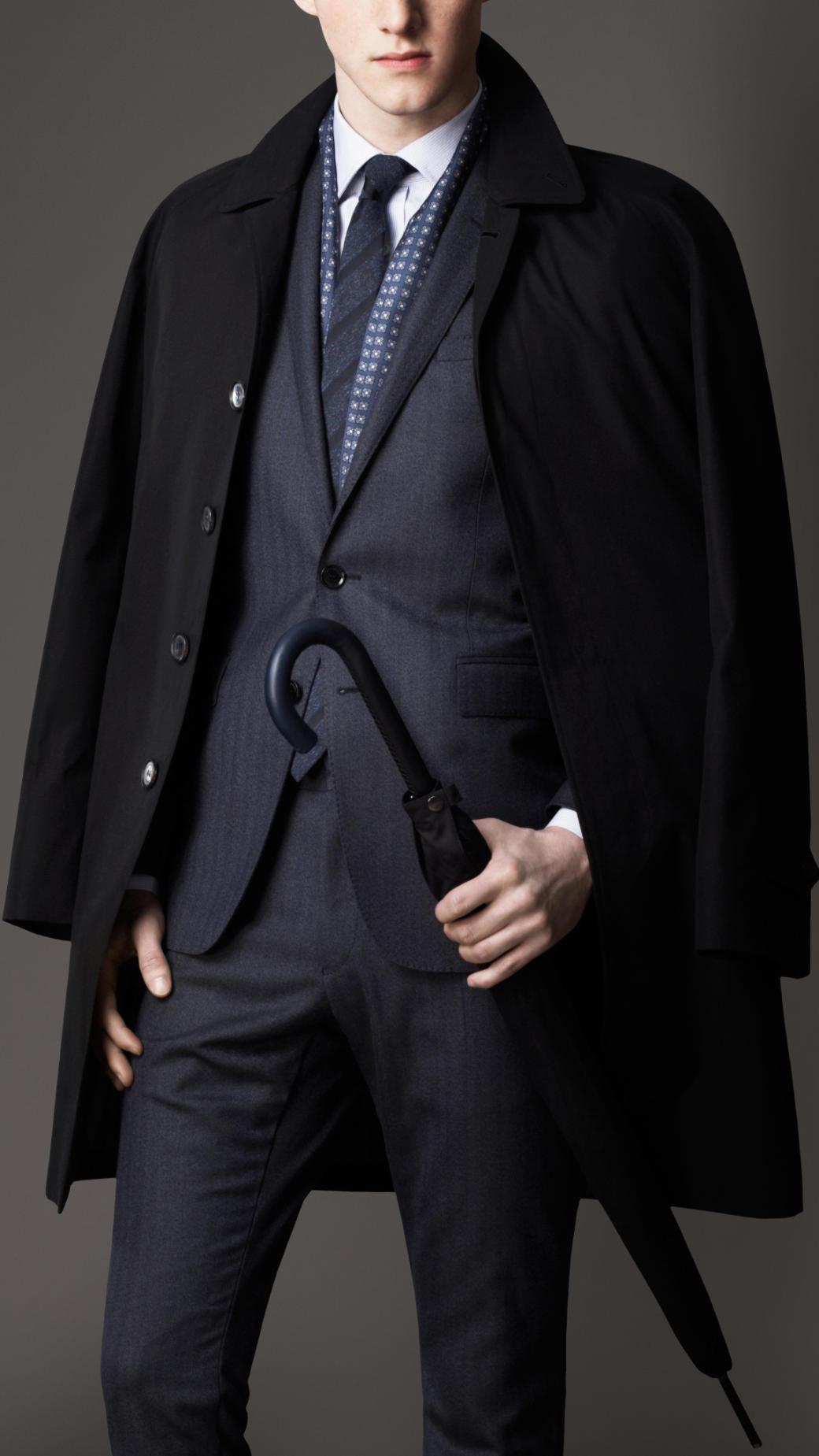 Burberry Cotton Gabardine Car Coat in Black for Men | Lyst