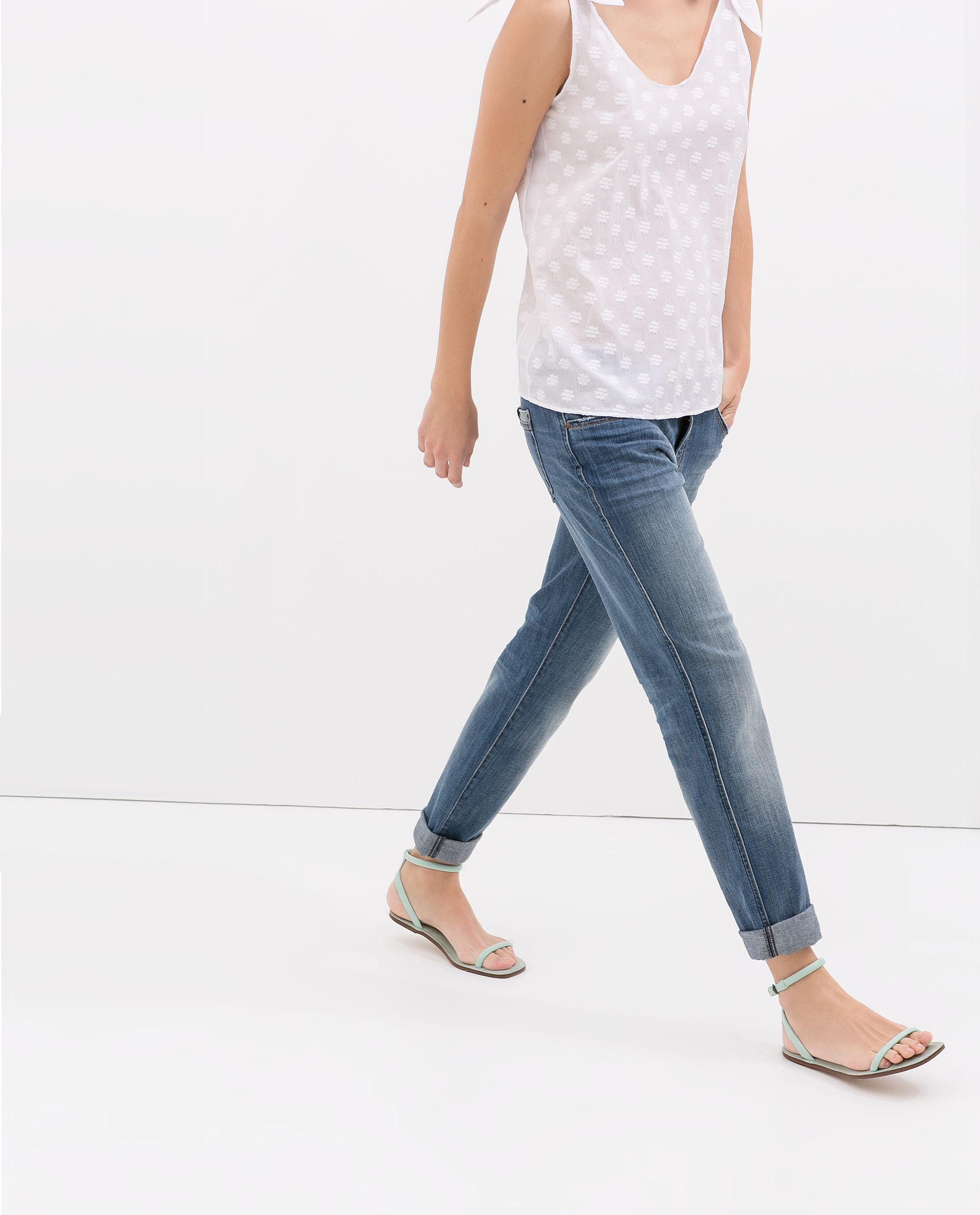 zara light wash boyfriend jeans in blue indigo lyst. Black Bedroom Furniture Sets. Home Design Ideas