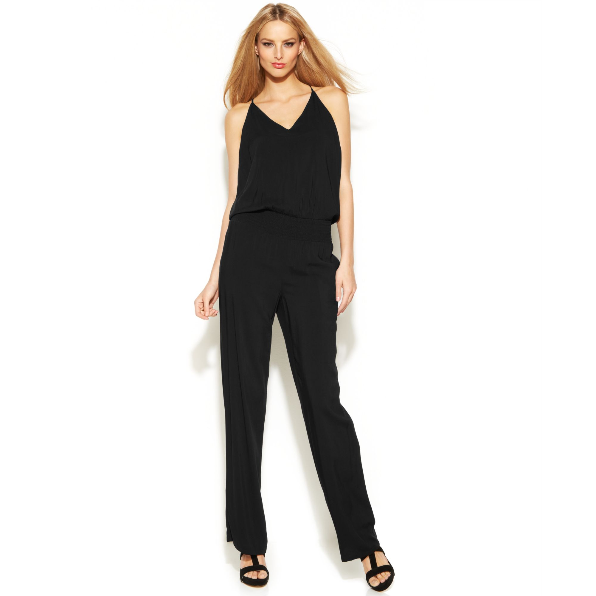 Inc International Concepts Petite Sleeveless Smockedwaist Jumpsuit In Black (Deep Black) | Lyst