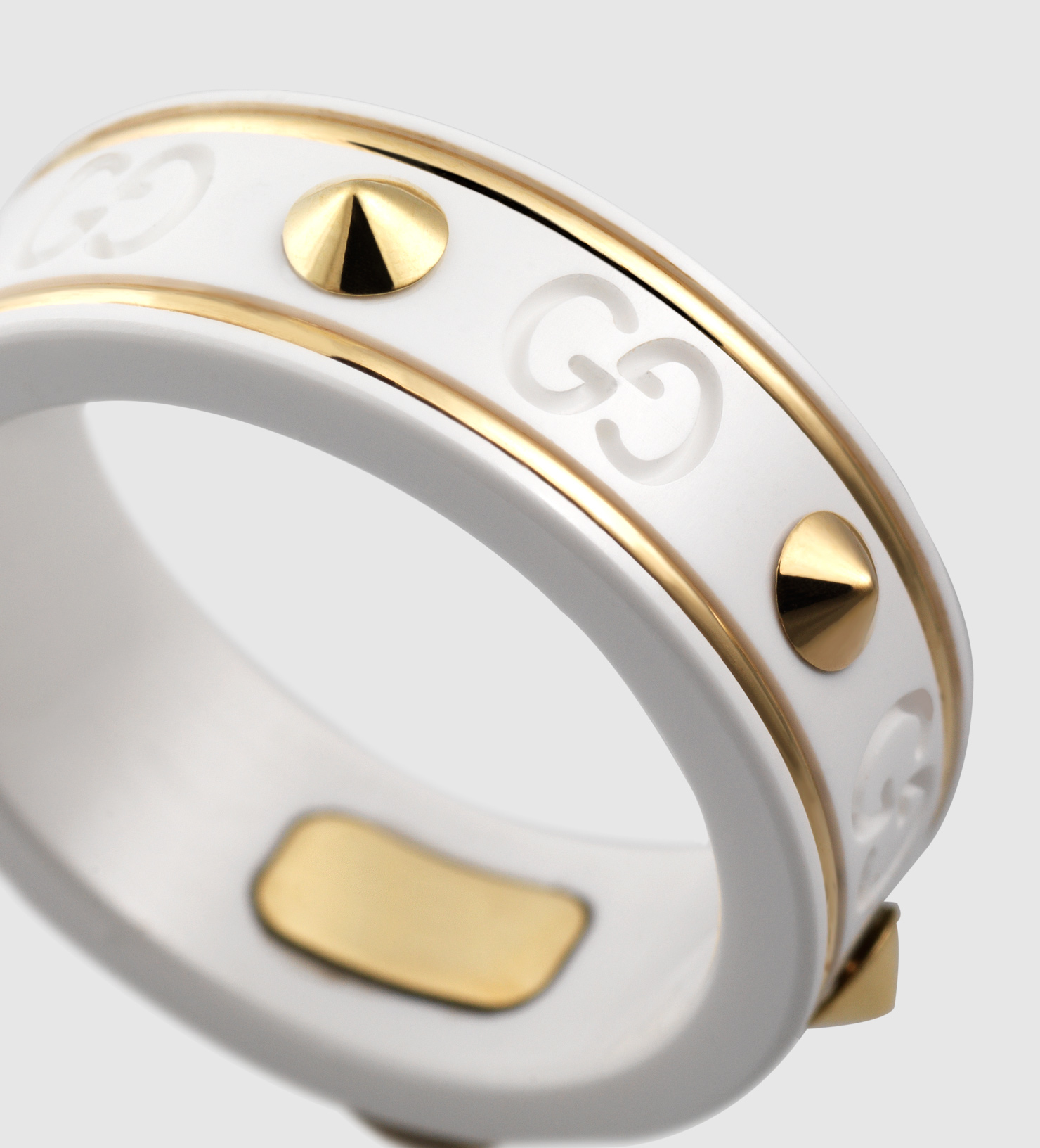 a1ebd6639cf Gucci Icon Ring With Studs In Yellow Gold And White Zirconia Powder ...