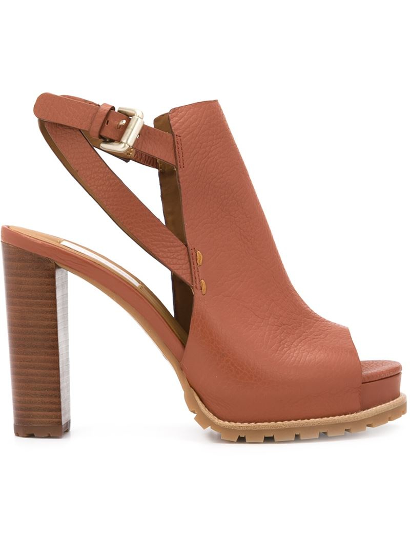 See by chloé Chunky Heel Sandals in Brown | Lyst