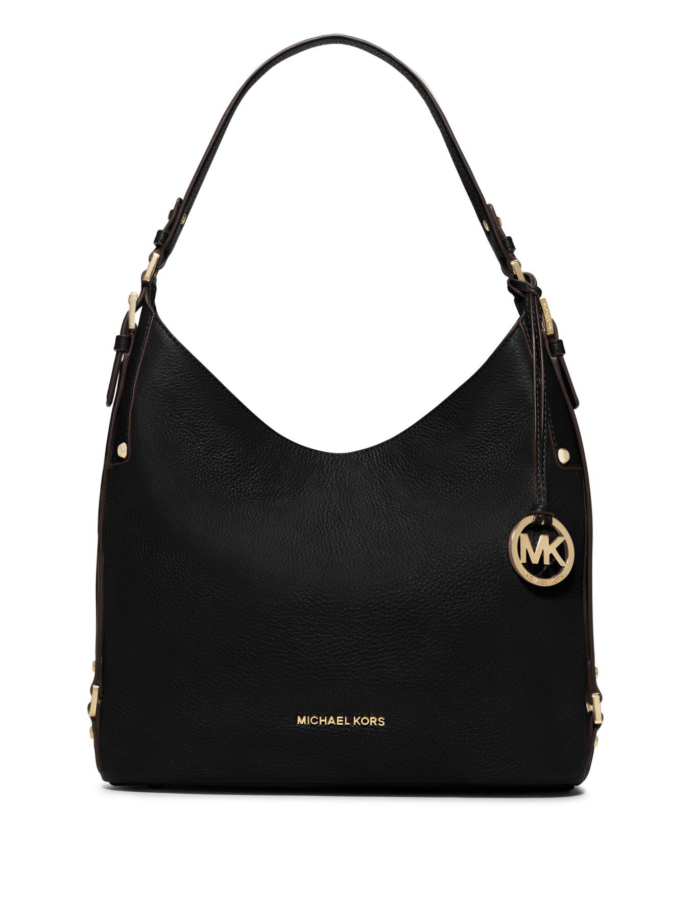 michael michael kors bedford belted large leather hobo bag in black lyst. Black Bedroom Furniture Sets. Home Design Ideas
