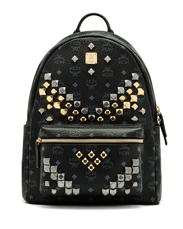 mcm stark m stud medium backpack in orange cognac save 19 lyst. Black Bedroom Furniture Sets. Home Design Ideas