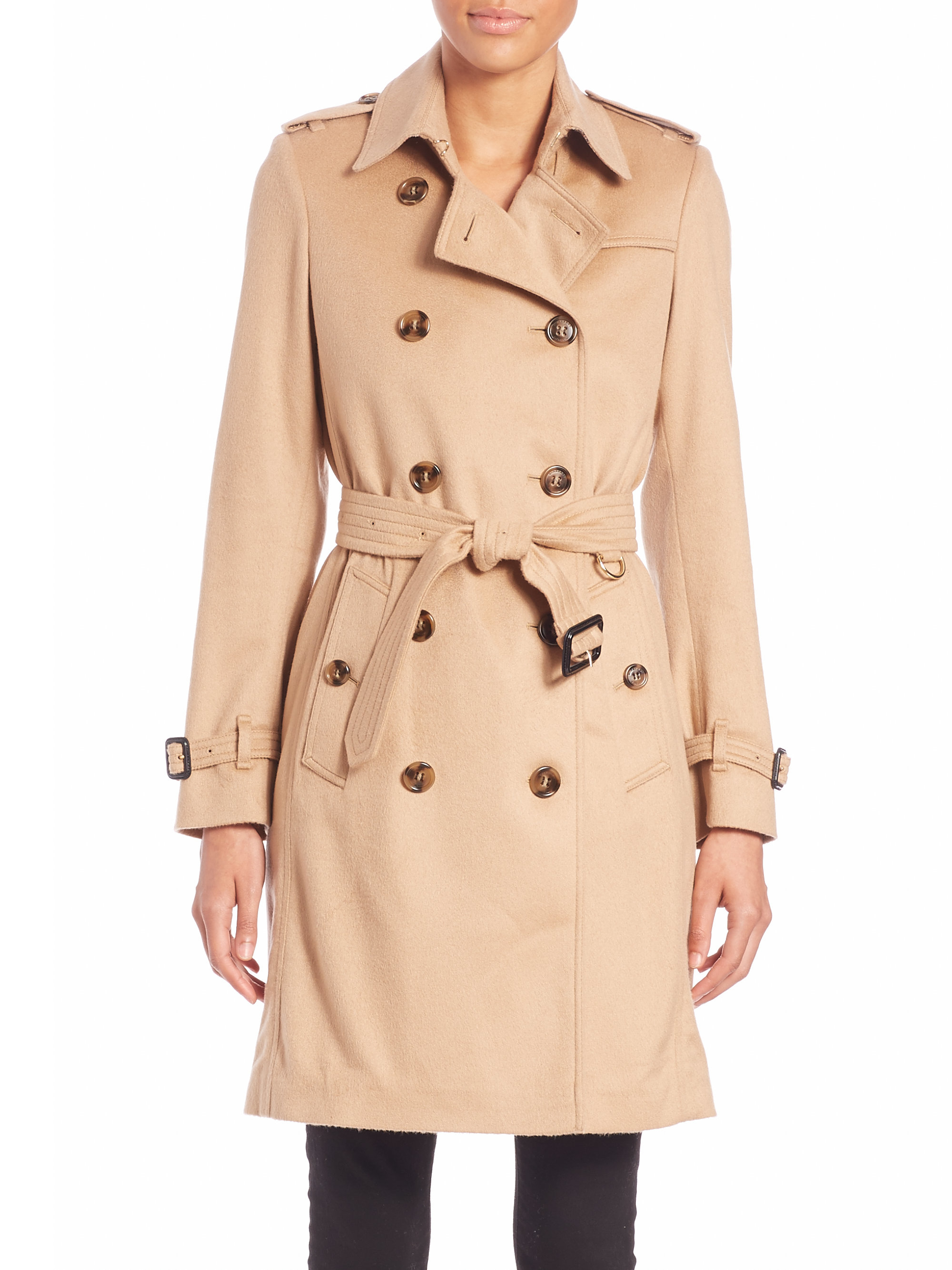 Lyst Burberry Kensington Camel Cashmere Trench Coat In