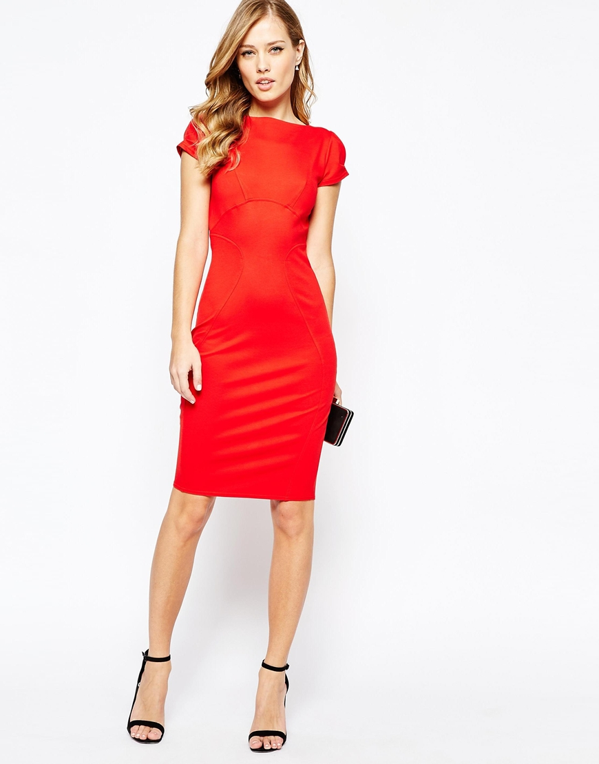655d4d47df Lyst - Closet Closet Pencil Dress With Ruched Cap Sleeve - Red in Red
