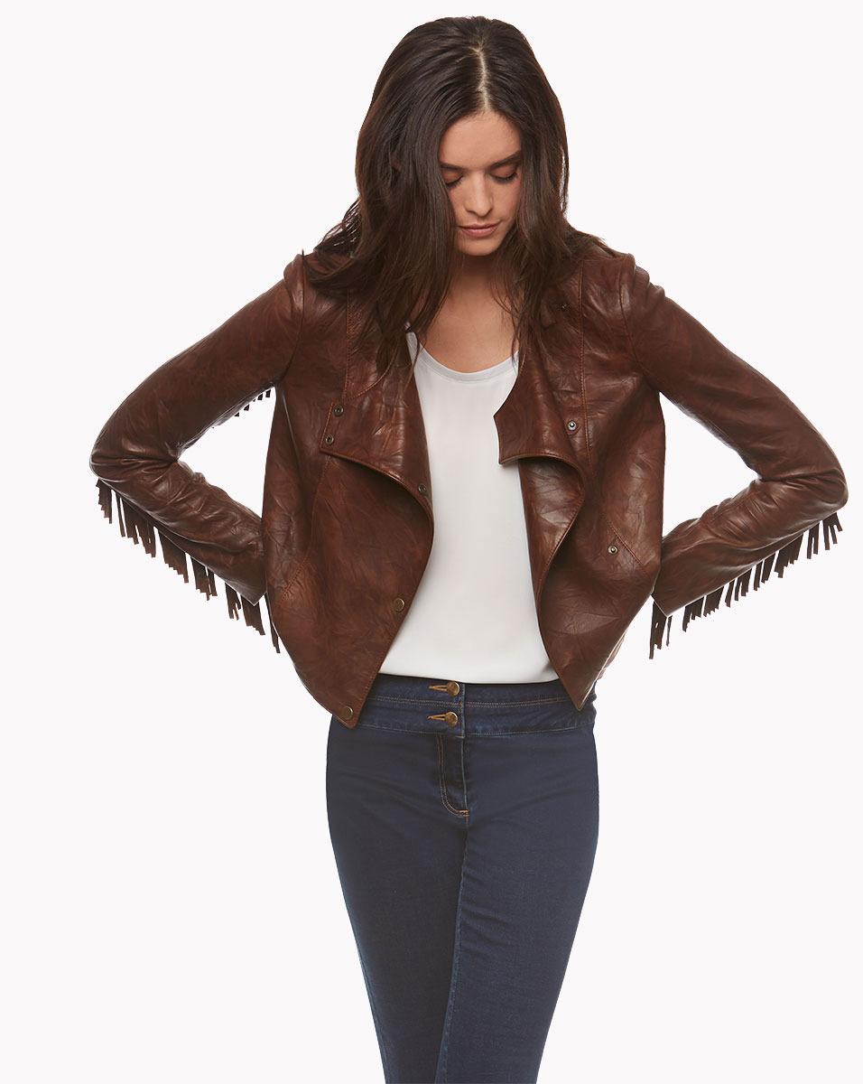 Lyst Veronica Beard Frontier Fringe Leather Jacket In Brown