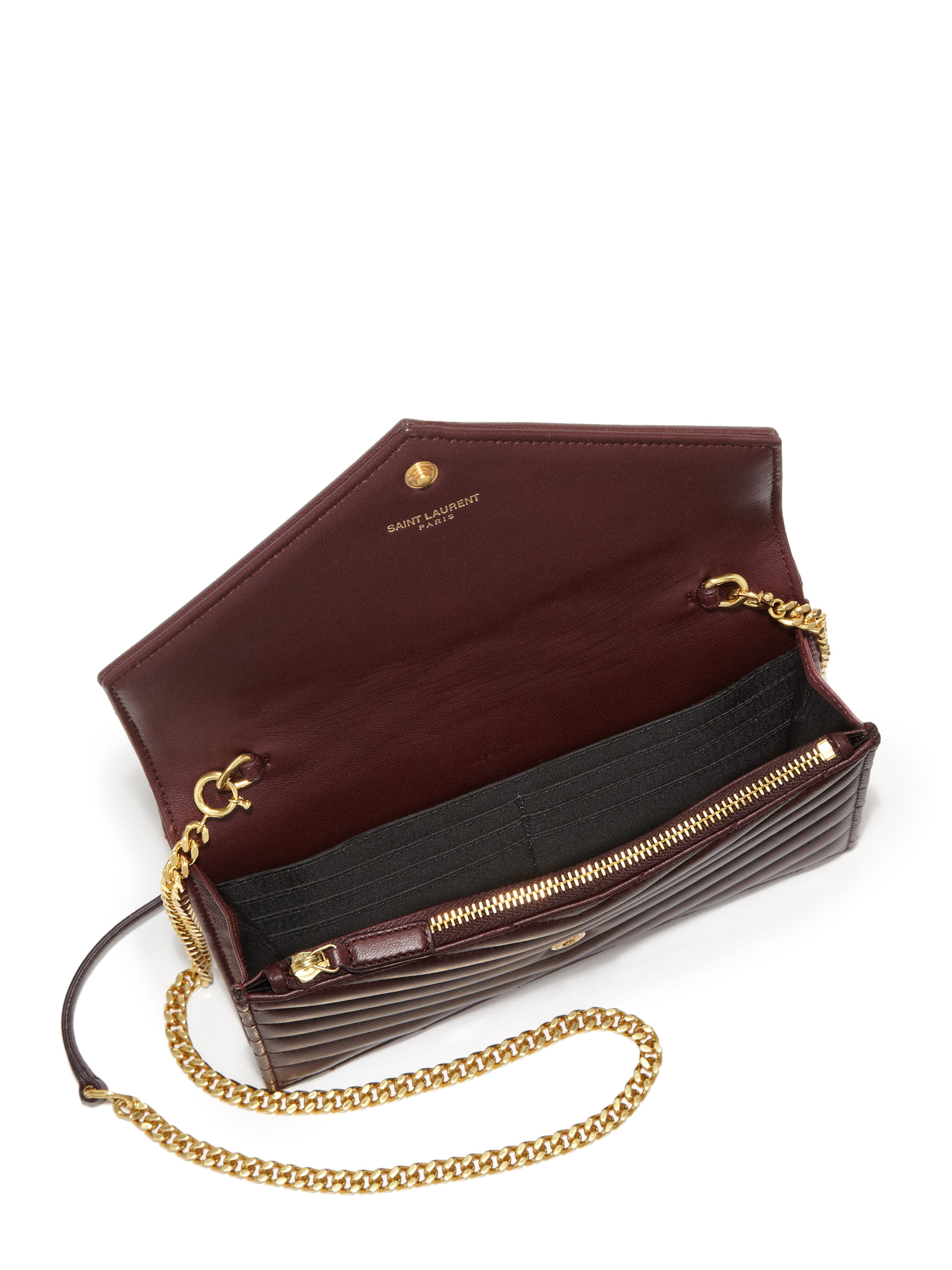 Lyst - Saint Laurent Monogramme Matelasse Leather Chain Wallet in Purple 069388712dfe9