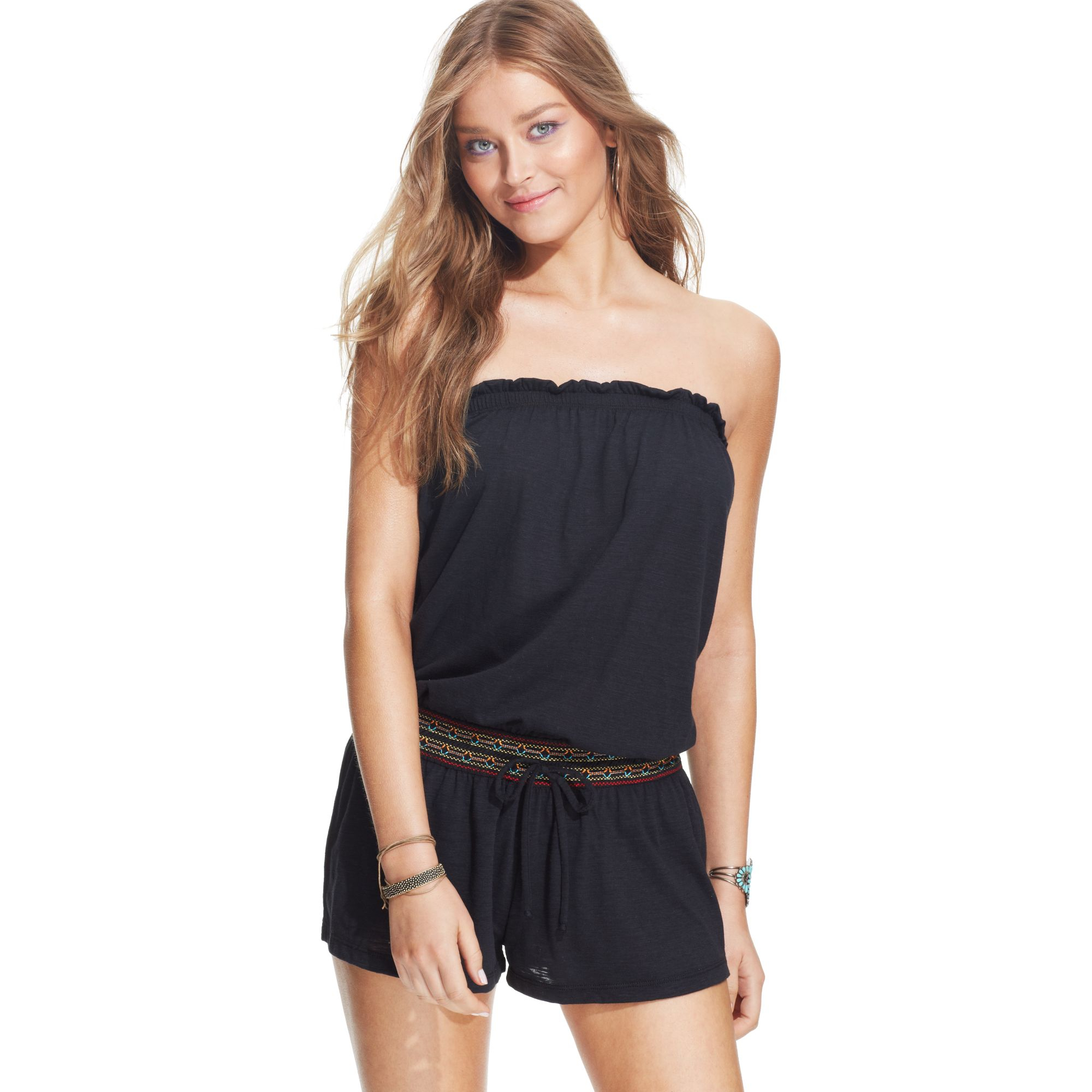 cb964ff4de Lucky Brand Sleeveless Bandeau Romper Cover Up in Black - Lyst