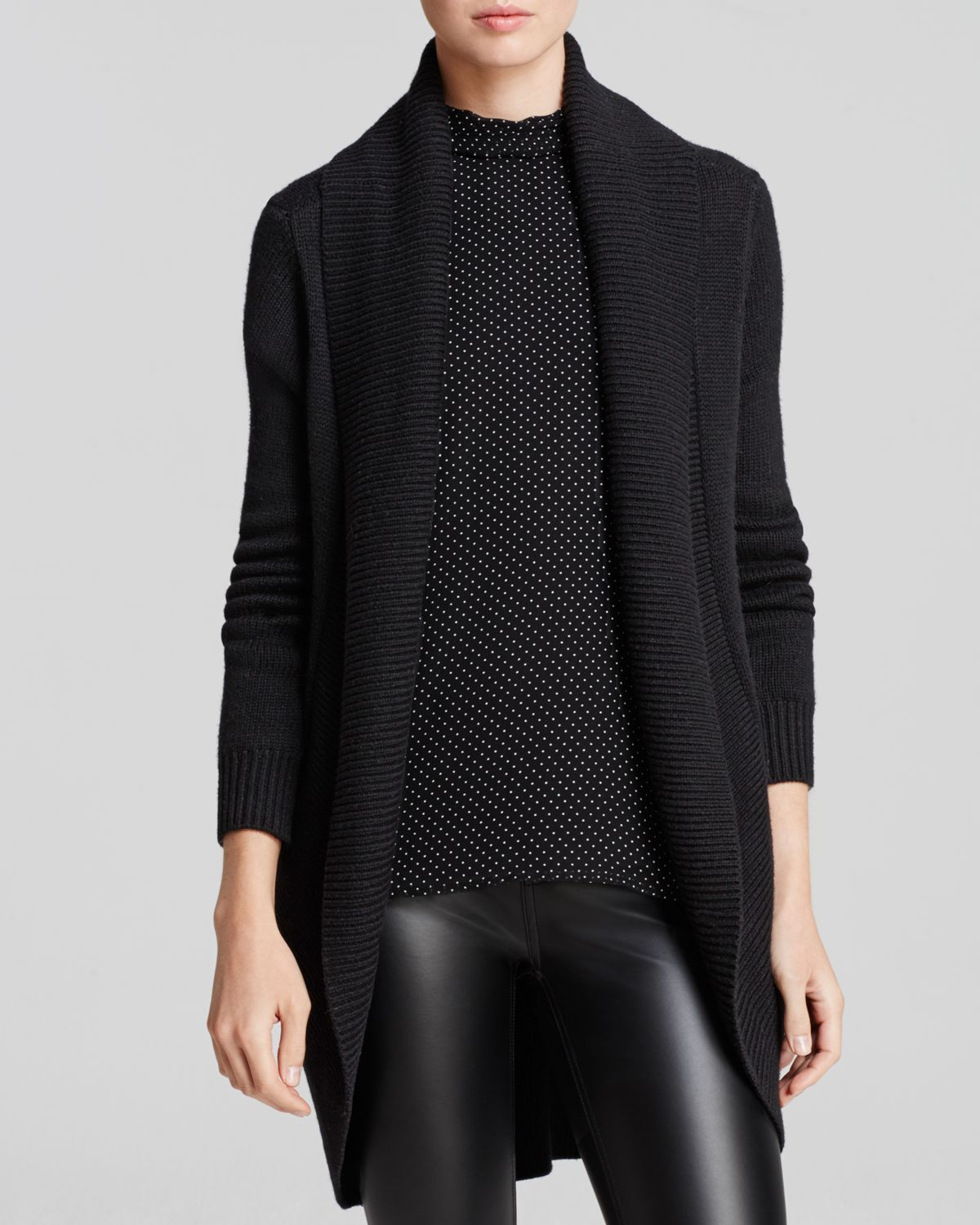 Joie Cardigan Levella Chunky Open Knit in Black | Lyst