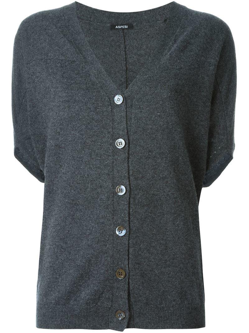 Aspesi Short Sleeve Cardigan in Gray | Lyst