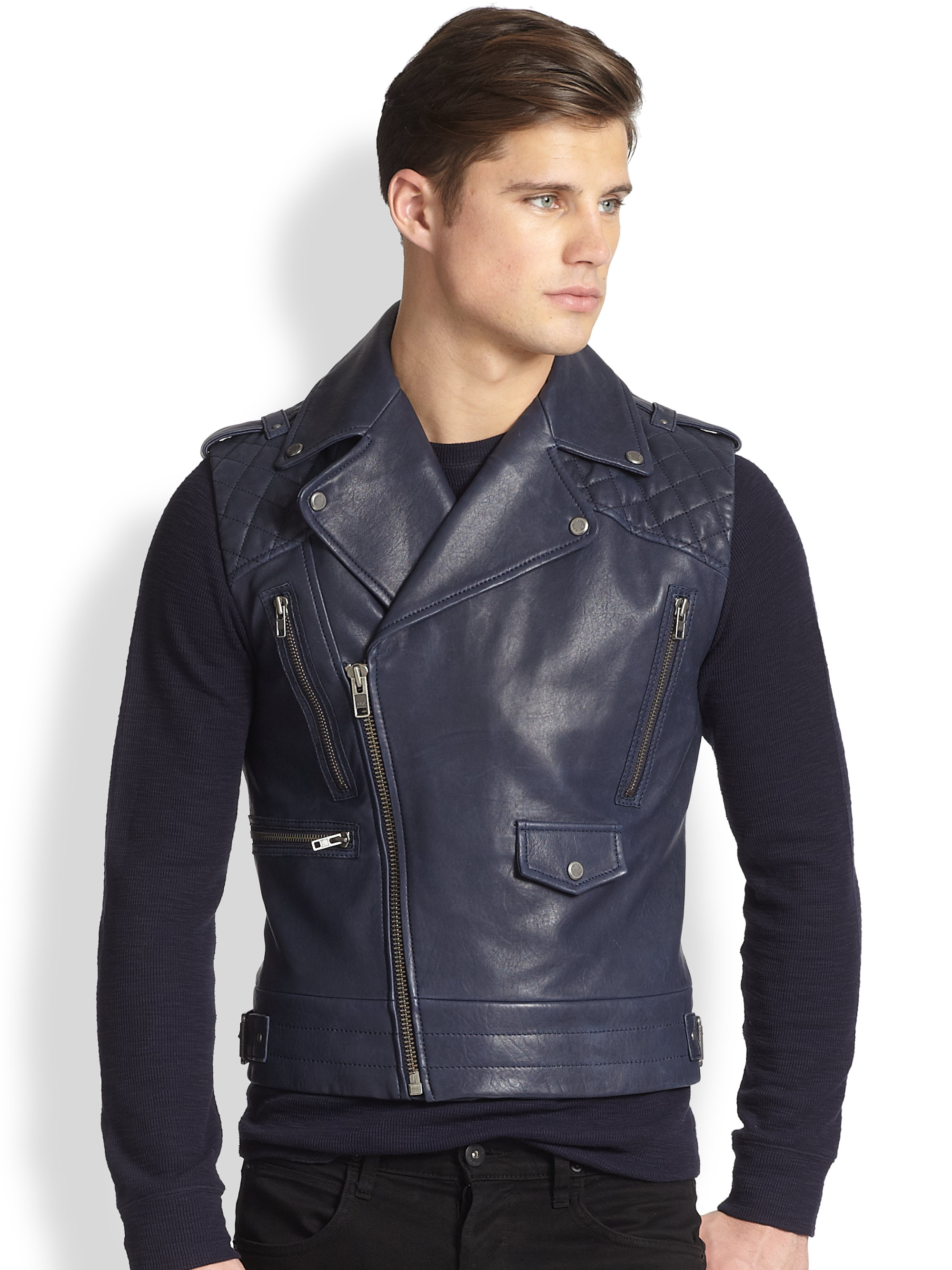 Andrew Marc Jagger Asymmetrical Leather Vest In Blue For