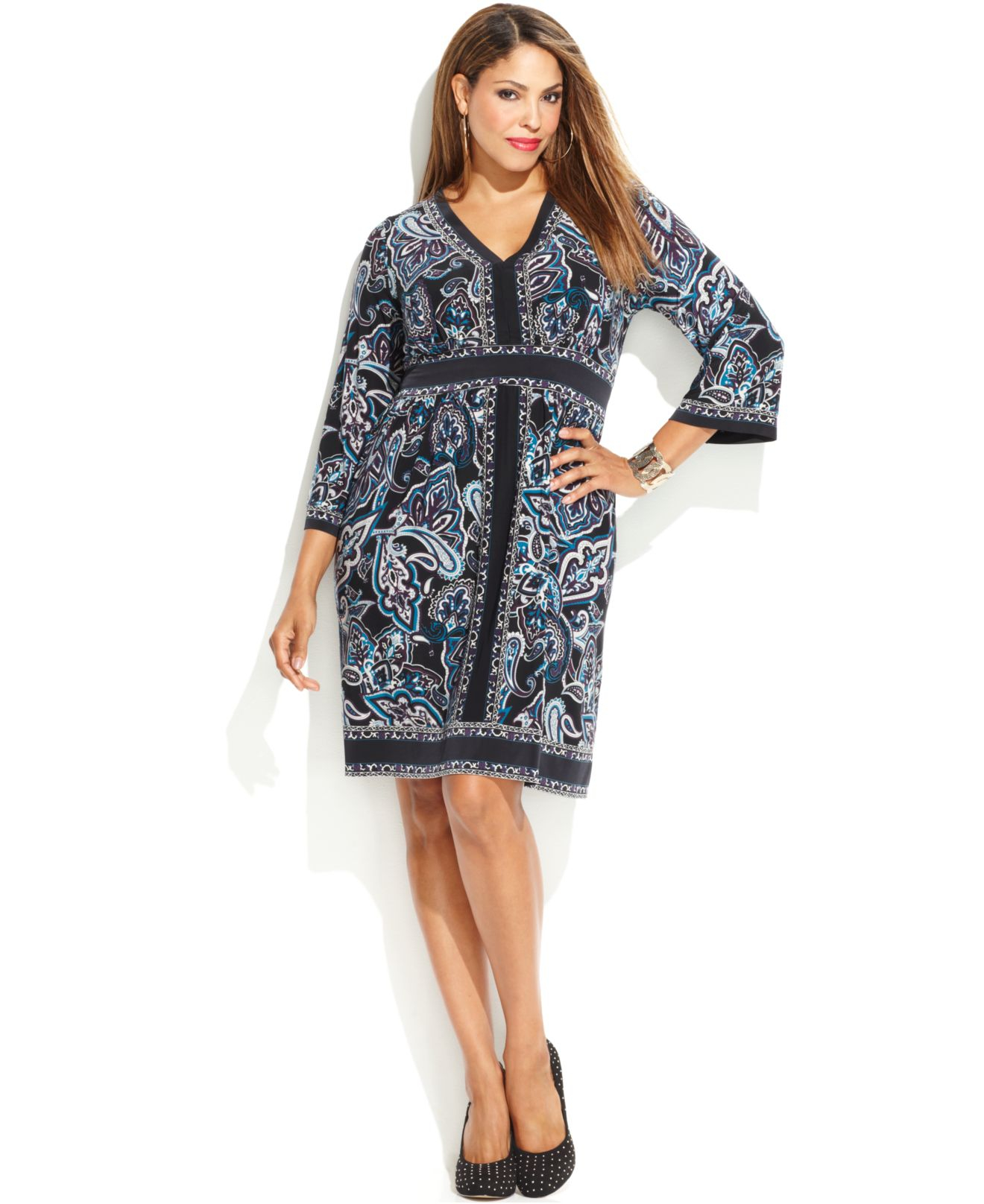 Inc international concepts Plus Size Printed Empire-Waist Dress | Lyst