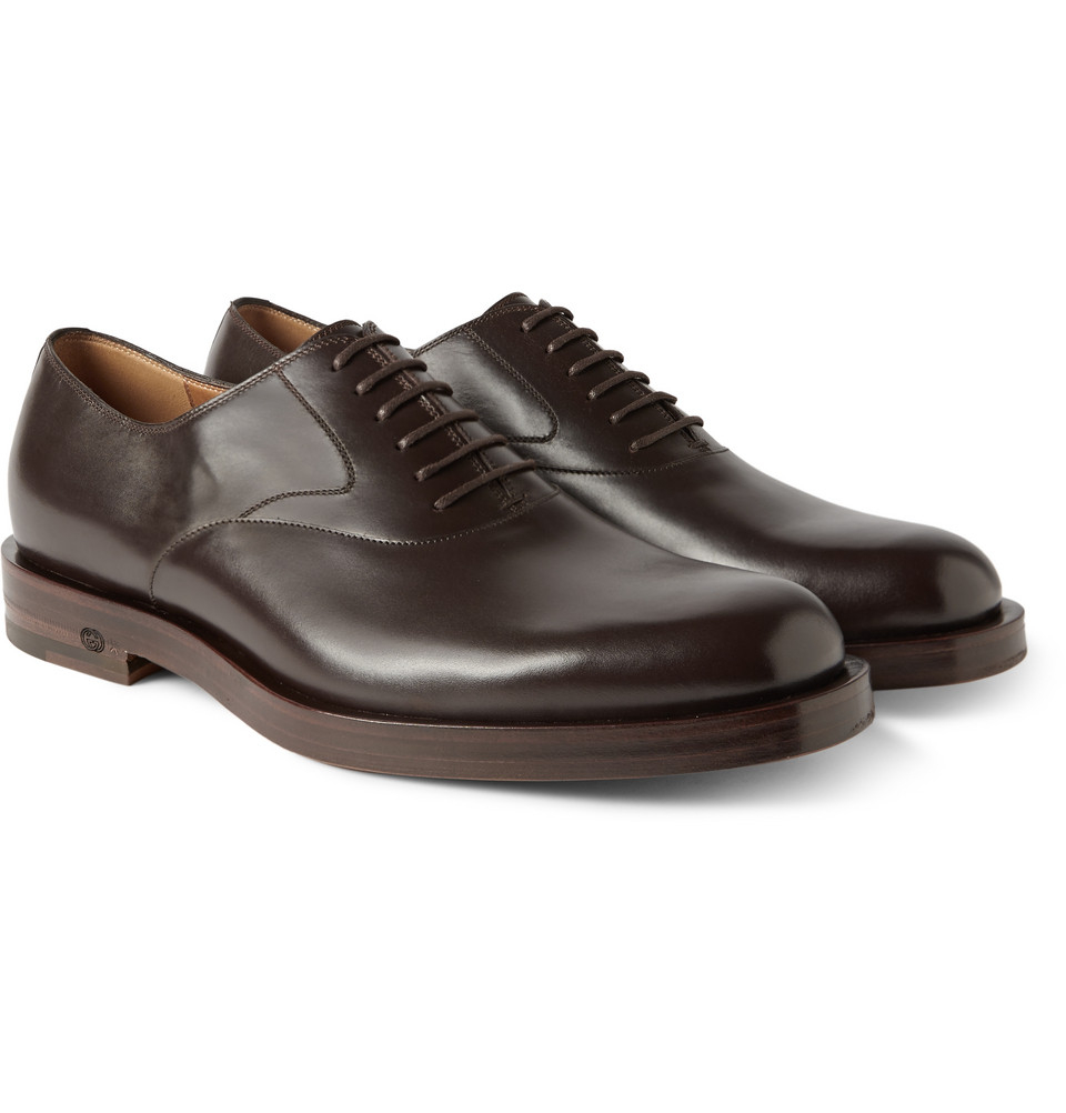 gucci dark brown leather oxford shoes in brown for men lyst. Black Bedroom Furniture Sets. Home Design Ideas