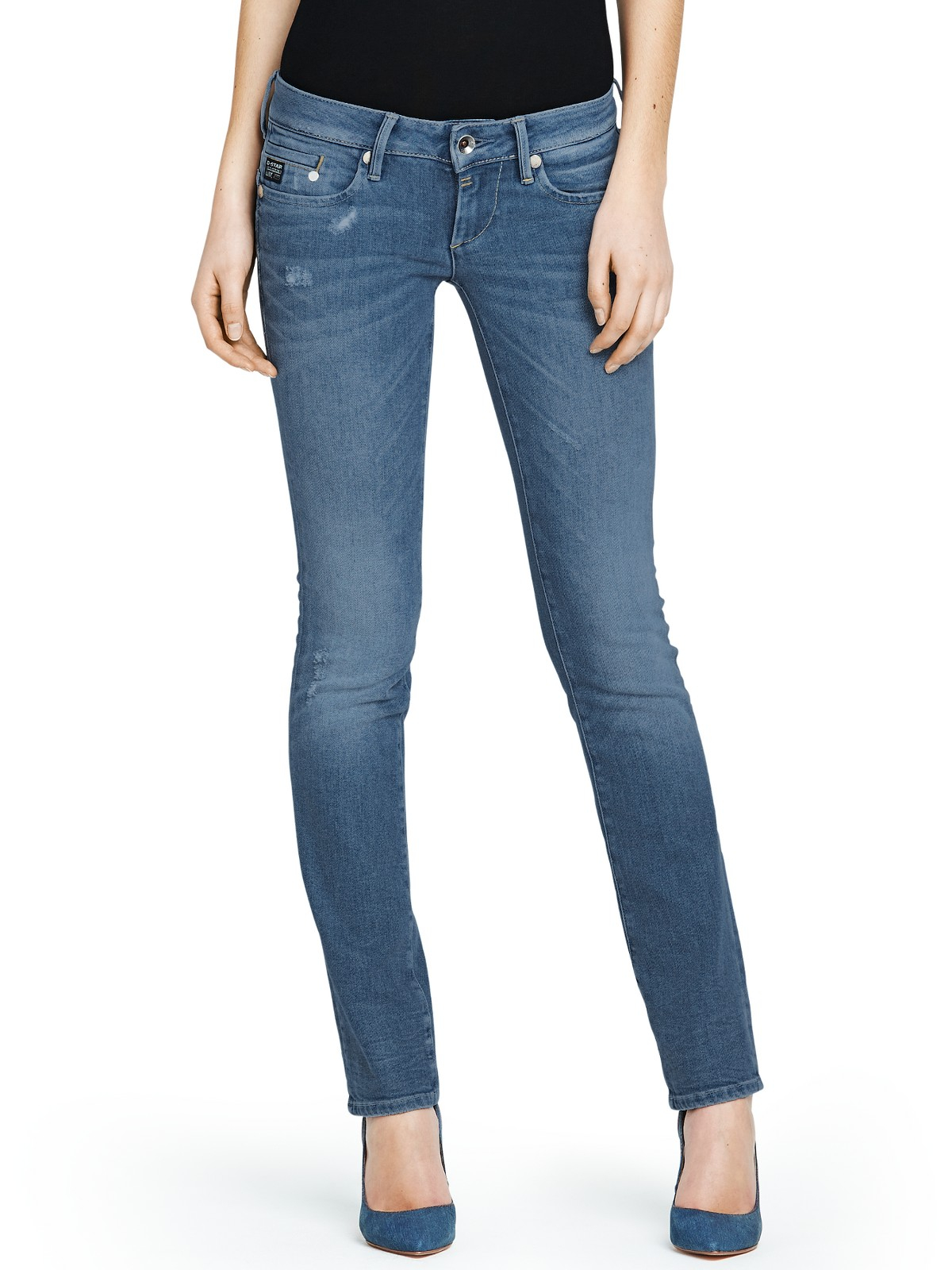 g star raw midge straight leg jeans in blue medium aged. Black Bedroom Furniture Sets. Home Design Ideas
