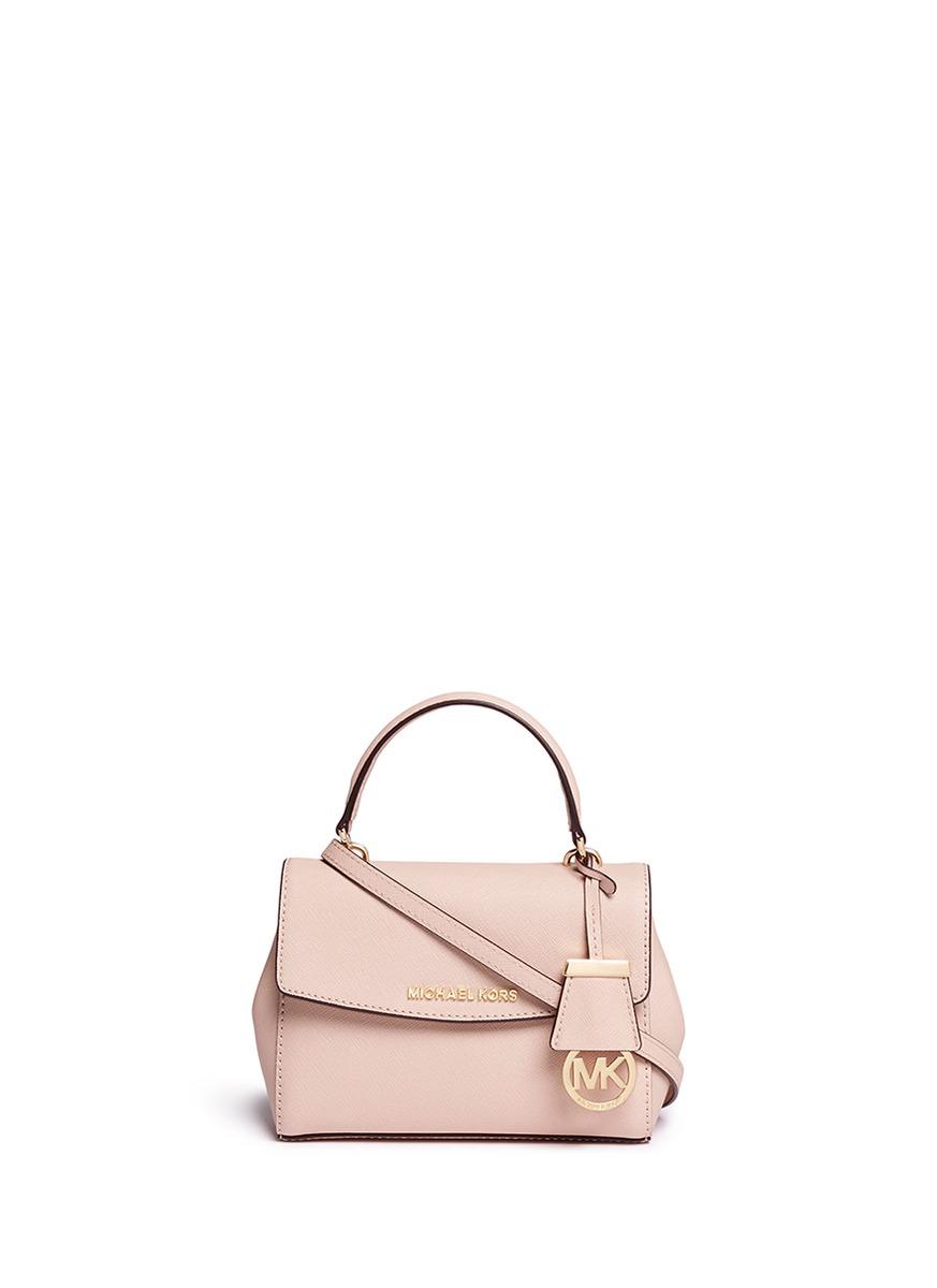 1060e6523199 ... usa lyst michael kors ava petite saffiano leather crossbody bag in pink  ba58e f5338