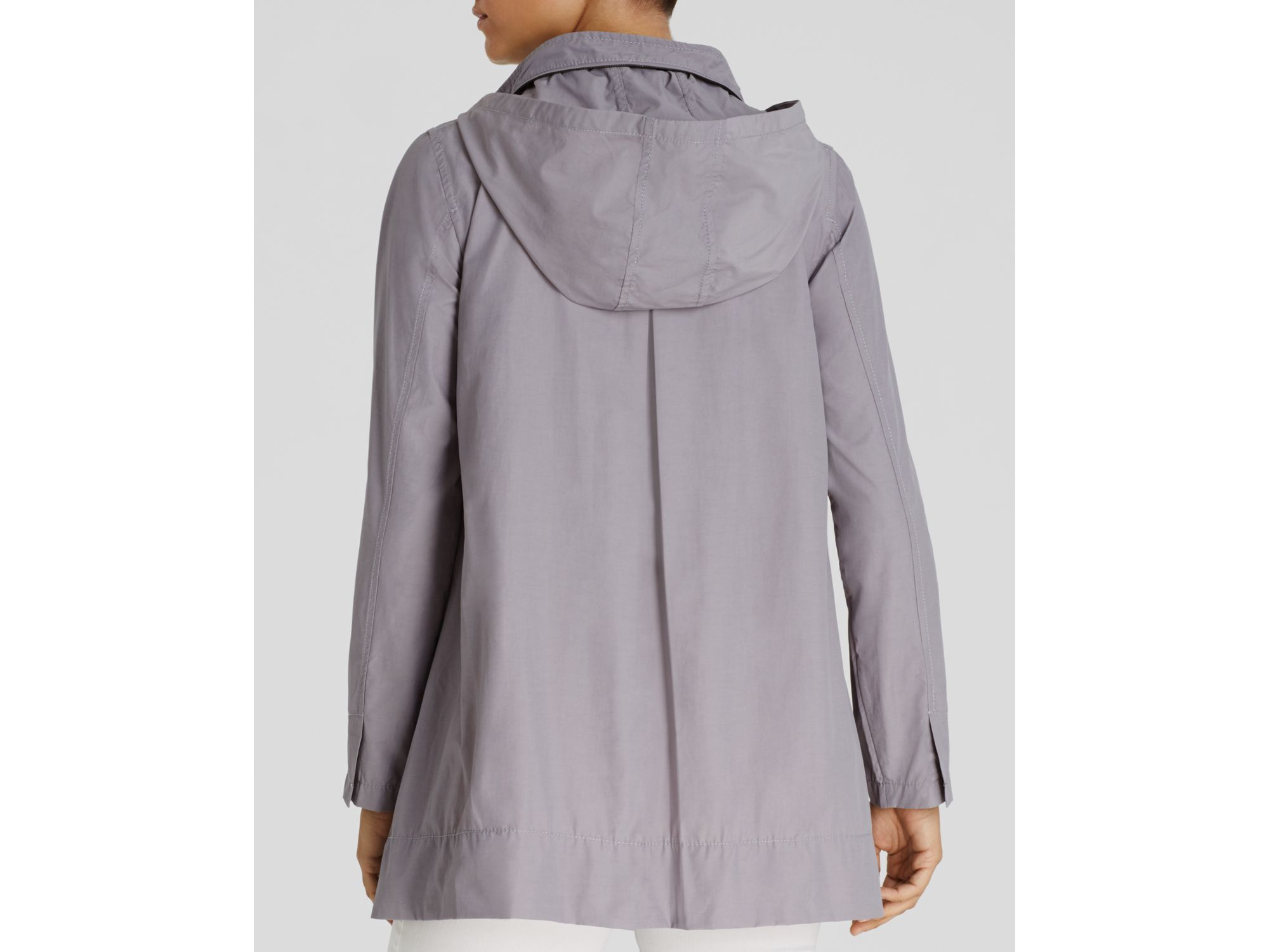 Eileen Fisher Hooded A Line Jacket In Gray Lyst