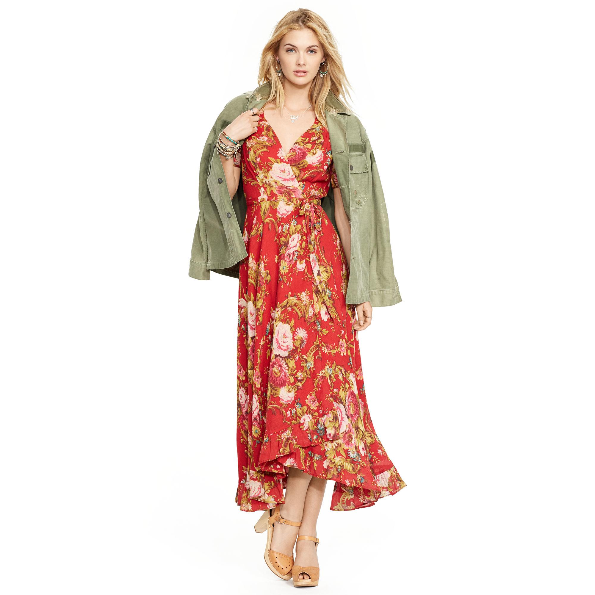 Denim Amp Supply Ralph Lauren Floral Print Bell Sleeve Dress