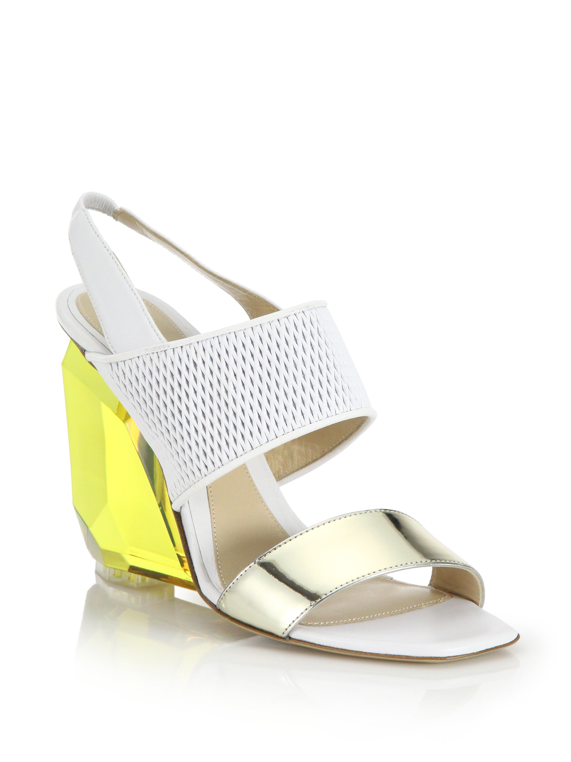 lhuillier peyton lucite wedge slingback sandals lyst