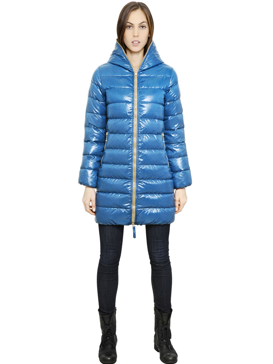 af46407871e211 Duvetica Ace Hooded Shiny Nylon Down Jacket in Blue - Lyst