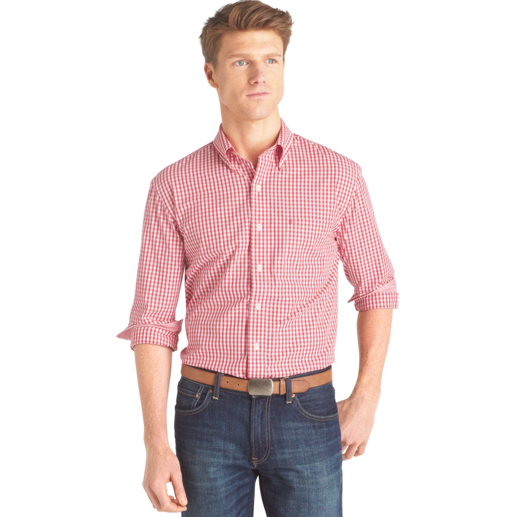 Izod big and tall essential shadow gingham shirt in red for Izod big and tall shirts