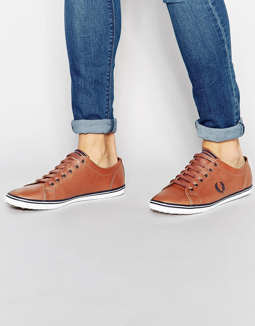 Fred Perry Kingston Leather Trainers In Tan Brown Leather Va5uz9Pf