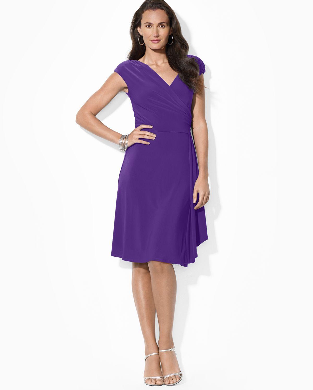 Lyst Ralph Lauren Lauren Dress V Neck Cap Sleeve In Purple