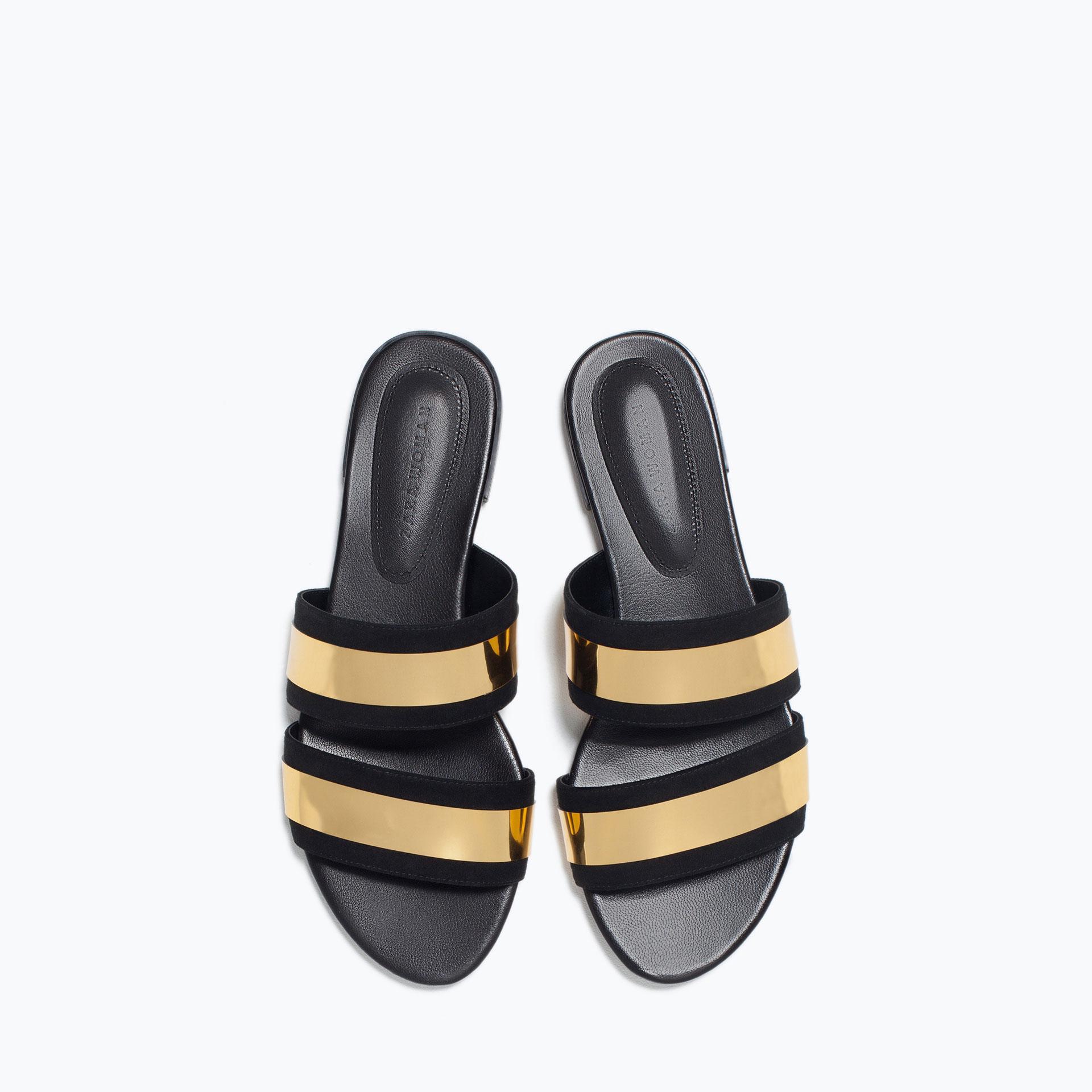 Zara Shiny Straps Flat Slides Shiny Straps Flat Slides Lyst