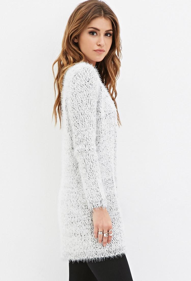 Forever 21 Fuzzy Knit Longline Cardigan in Gray | Lyst