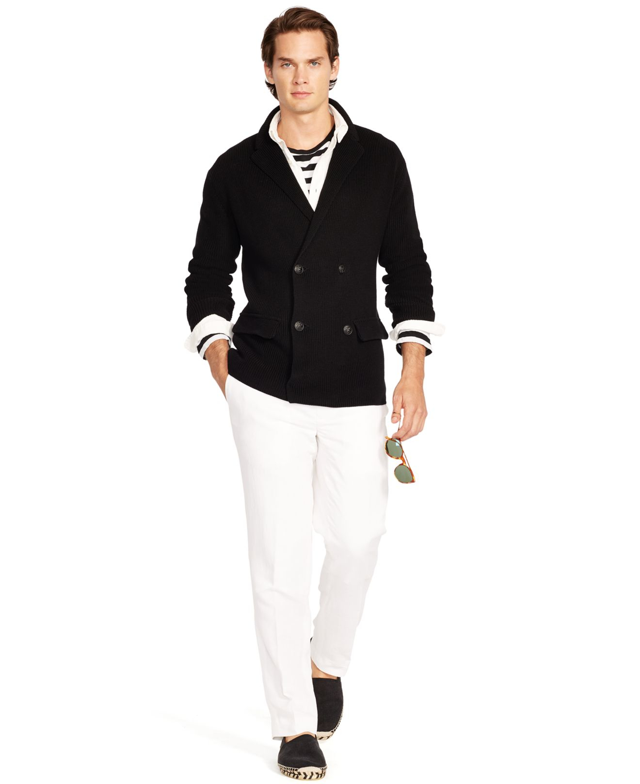 Polo ralph lauren Cotton Sweater Blazer in Black for Men | Lyst
