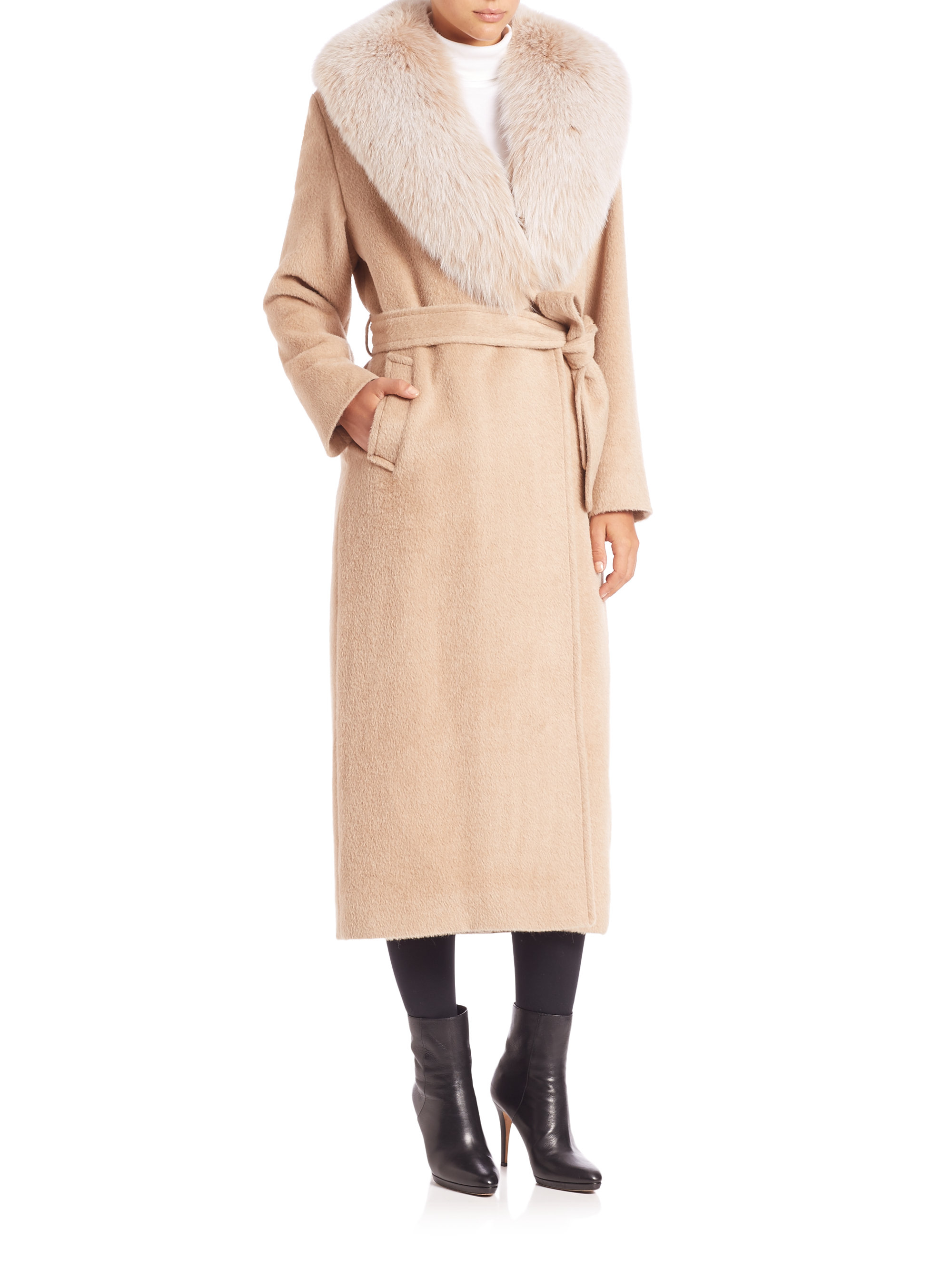 Sofia cashmere Long Fur-trimmed Wrap Coat in Natural | Lyst