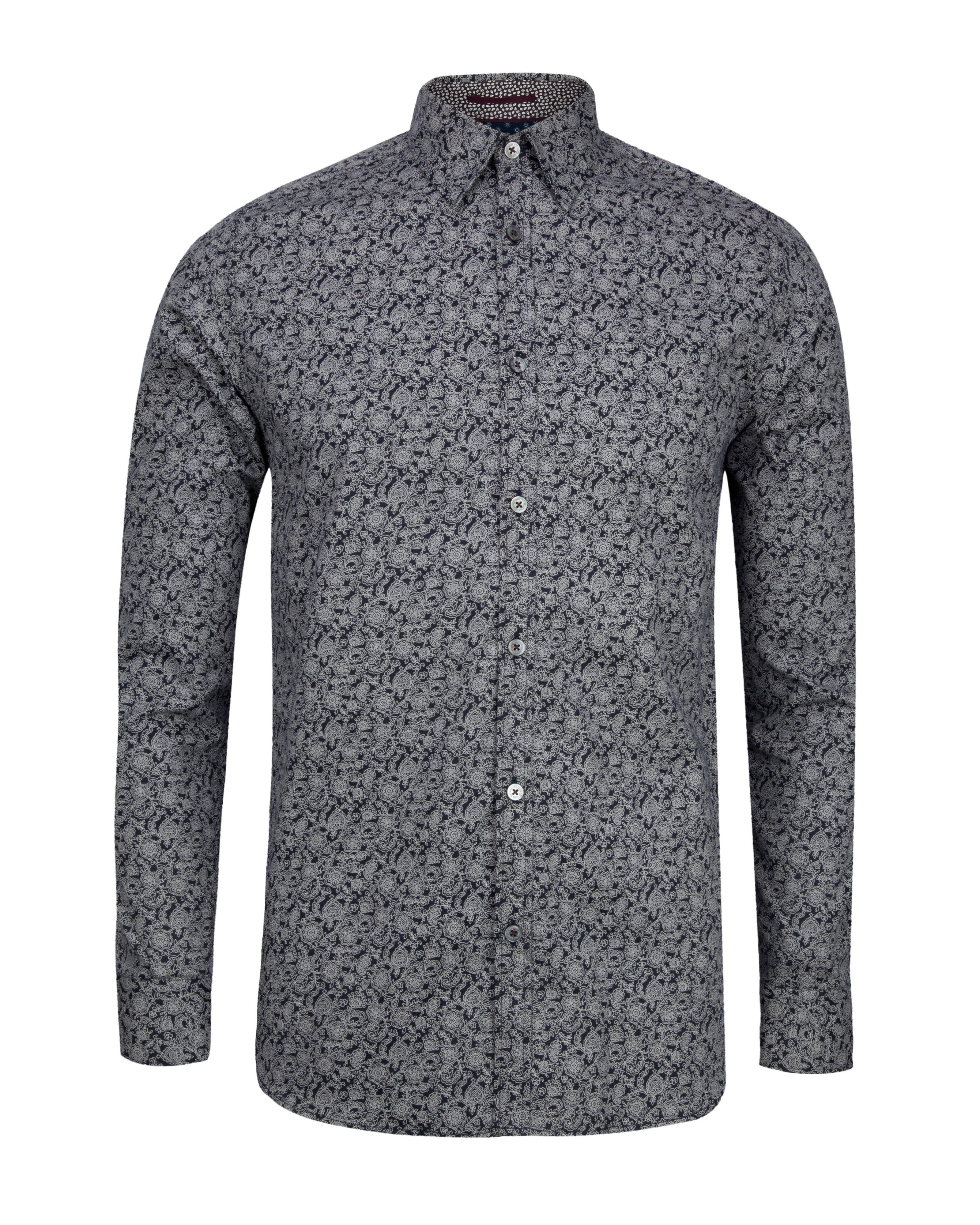 Ted baker floral print shirt in black for men lyst for Ted baker floral print shirt