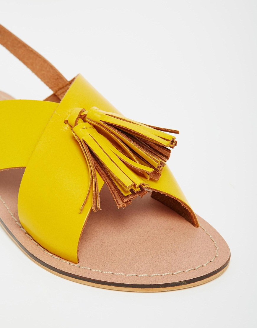 Asos Foxtrot Leather Tassel Sandals In Yellow Lyst