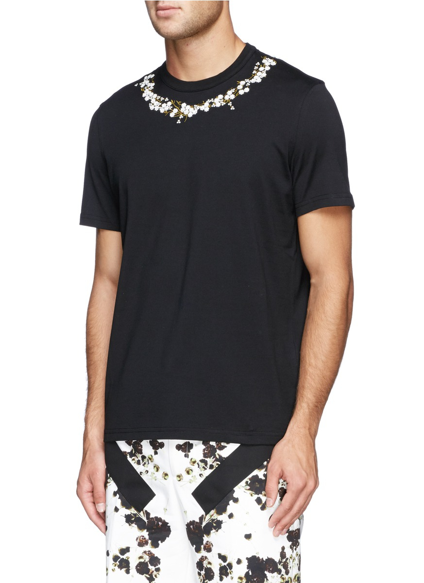 Givenchy Baby S Breath Floral Embroidery T Shirt In Black
