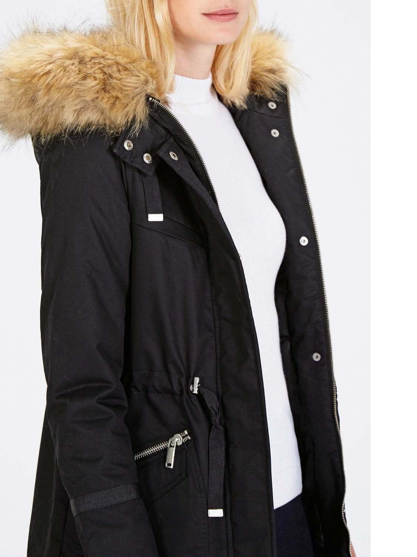 Warehouse Faux Fur Trim Parka Coat in Blue | Lyst