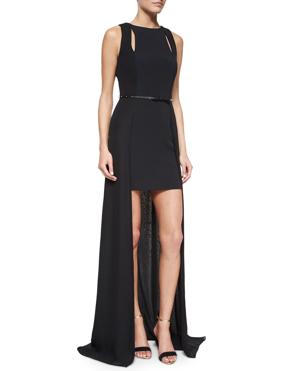 4499b0841c5 Halston Sleeveless Belted High-low Gown in Black - Lyst