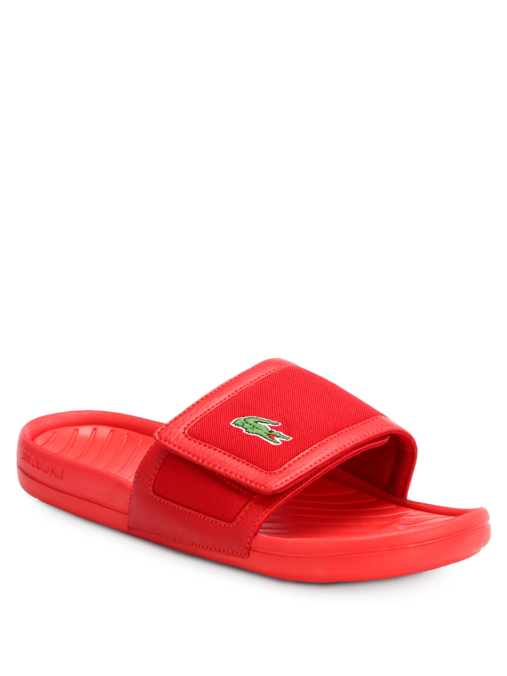 Lacoste Velcro Sandals In Red For Men Lyst