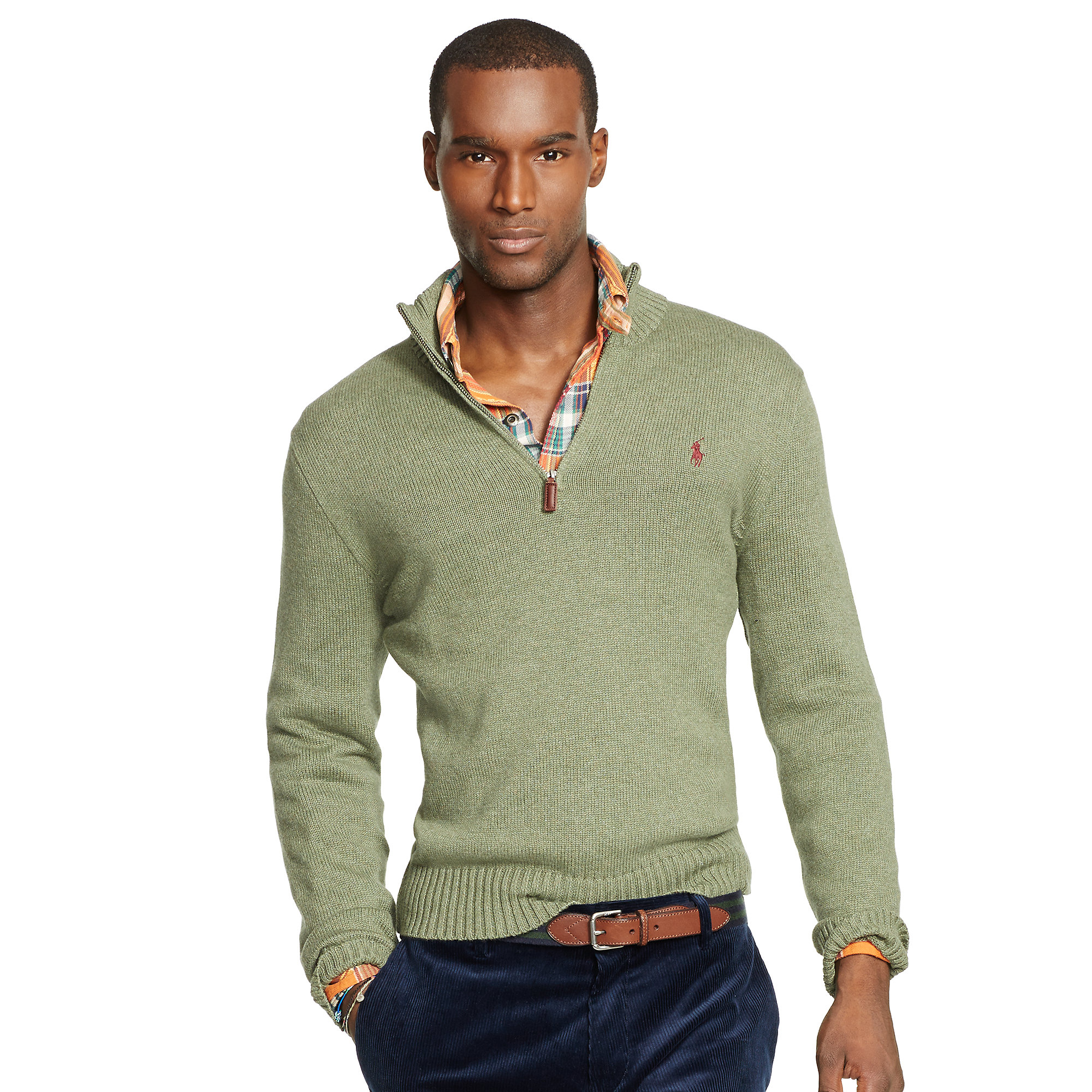Polo ralph lauren Cotton Half-Zip Sweater in Green for Men (Lovett Heather)