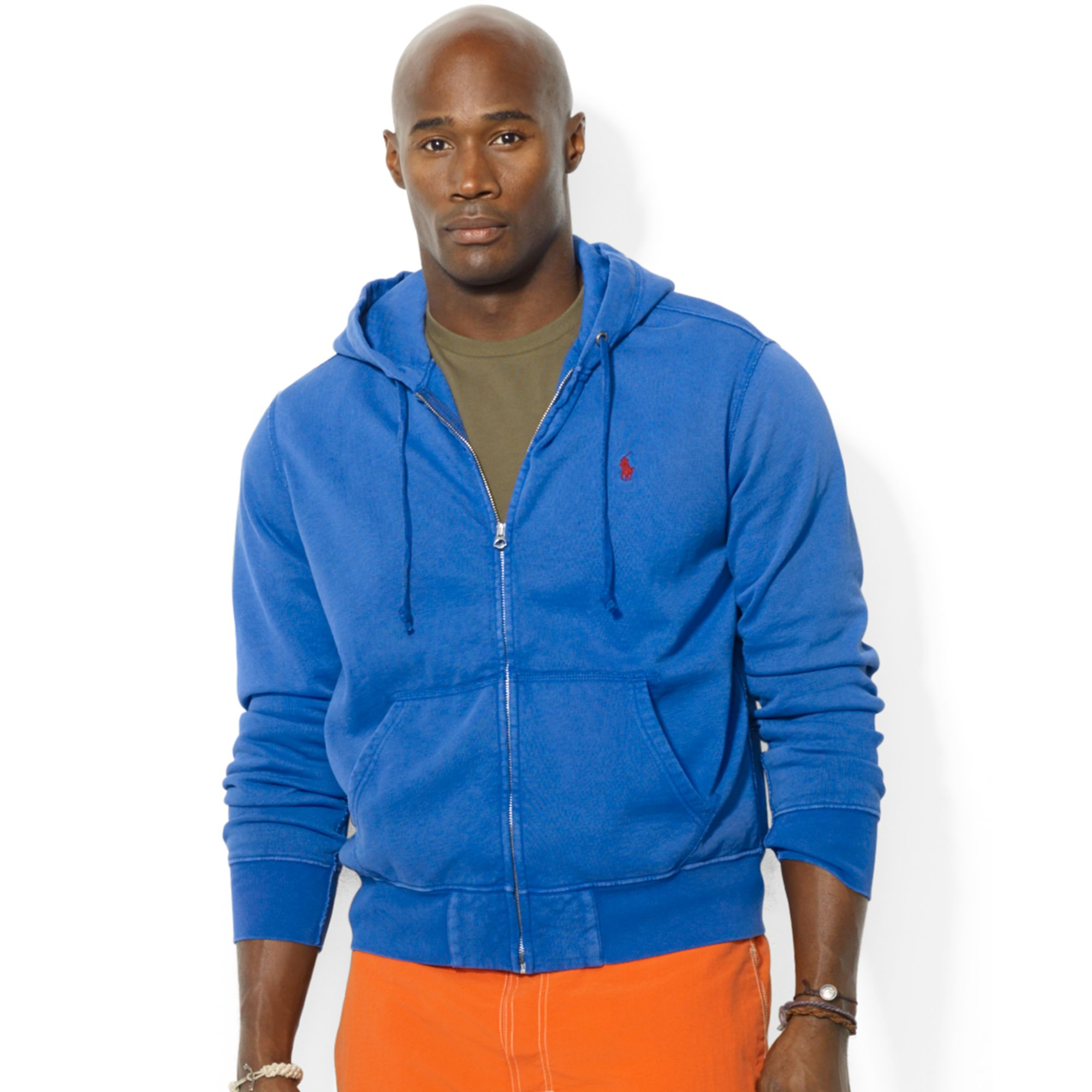 Ralph Lauren Polo Big And Tall Zipup Fleece Hoodie In Blue