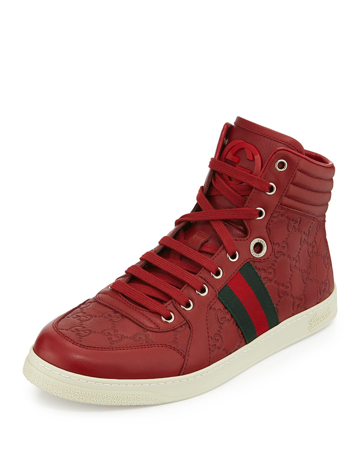 gucci leather high top sneakers in red for men lyst. Black Bedroom Furniture Sets. Home Design Ideas
