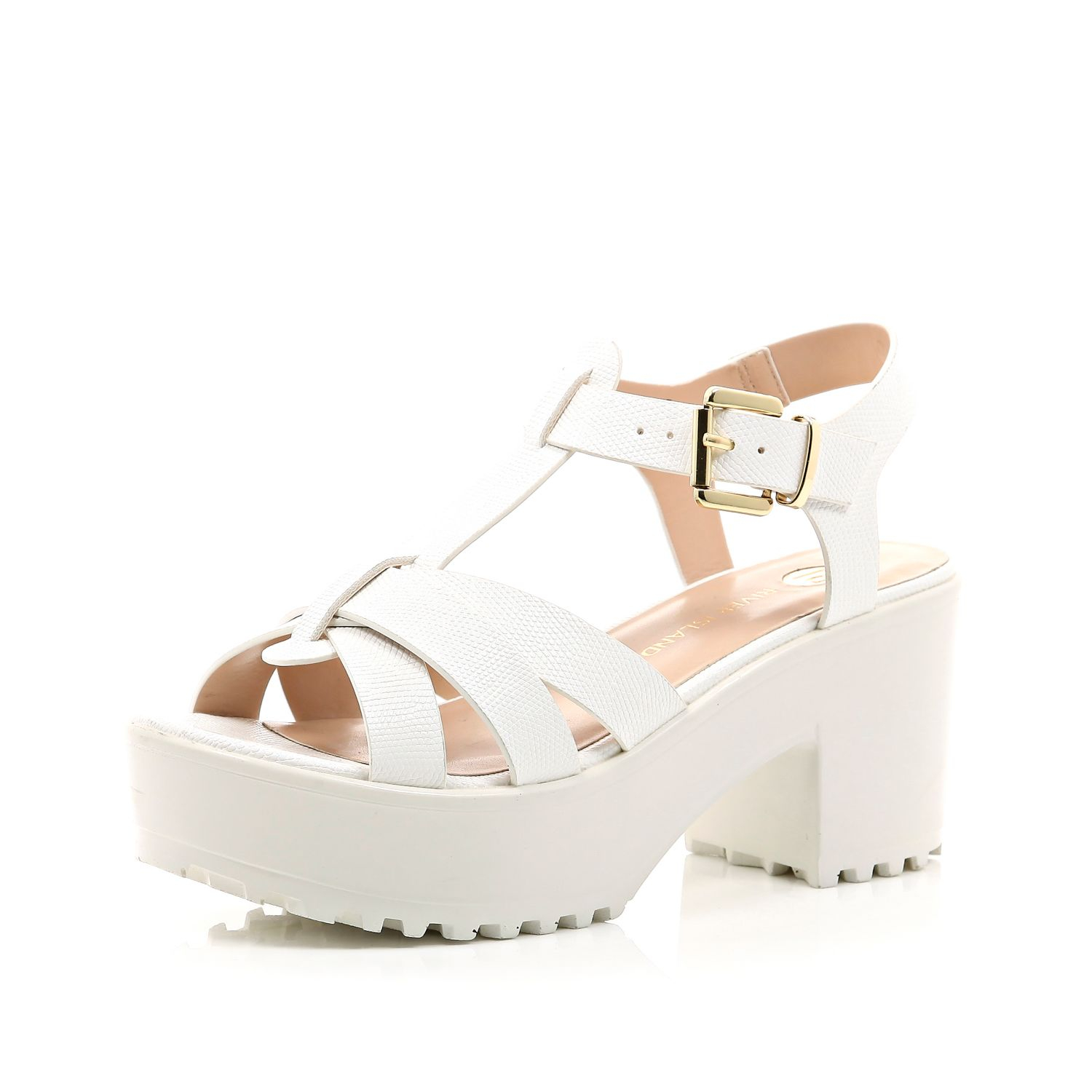 206ef24013a River Island White Snake Print Strappy Chunky Sandals in White - Lyst