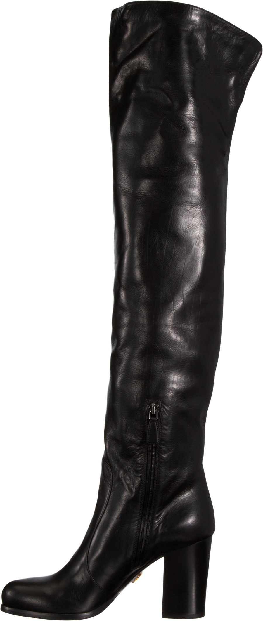 Prada Slouchy Over-The-Knee Boot in Black | Lyst