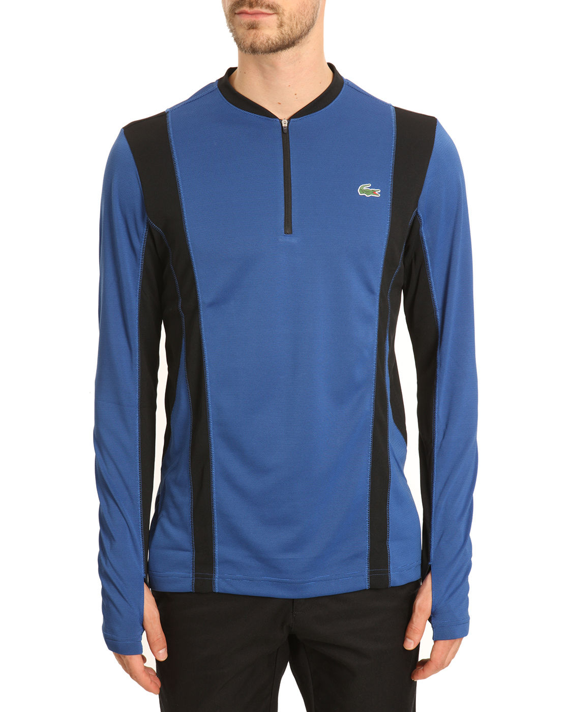 Lacoste Black And Royal Blue Long Sleeved Zip Collar T