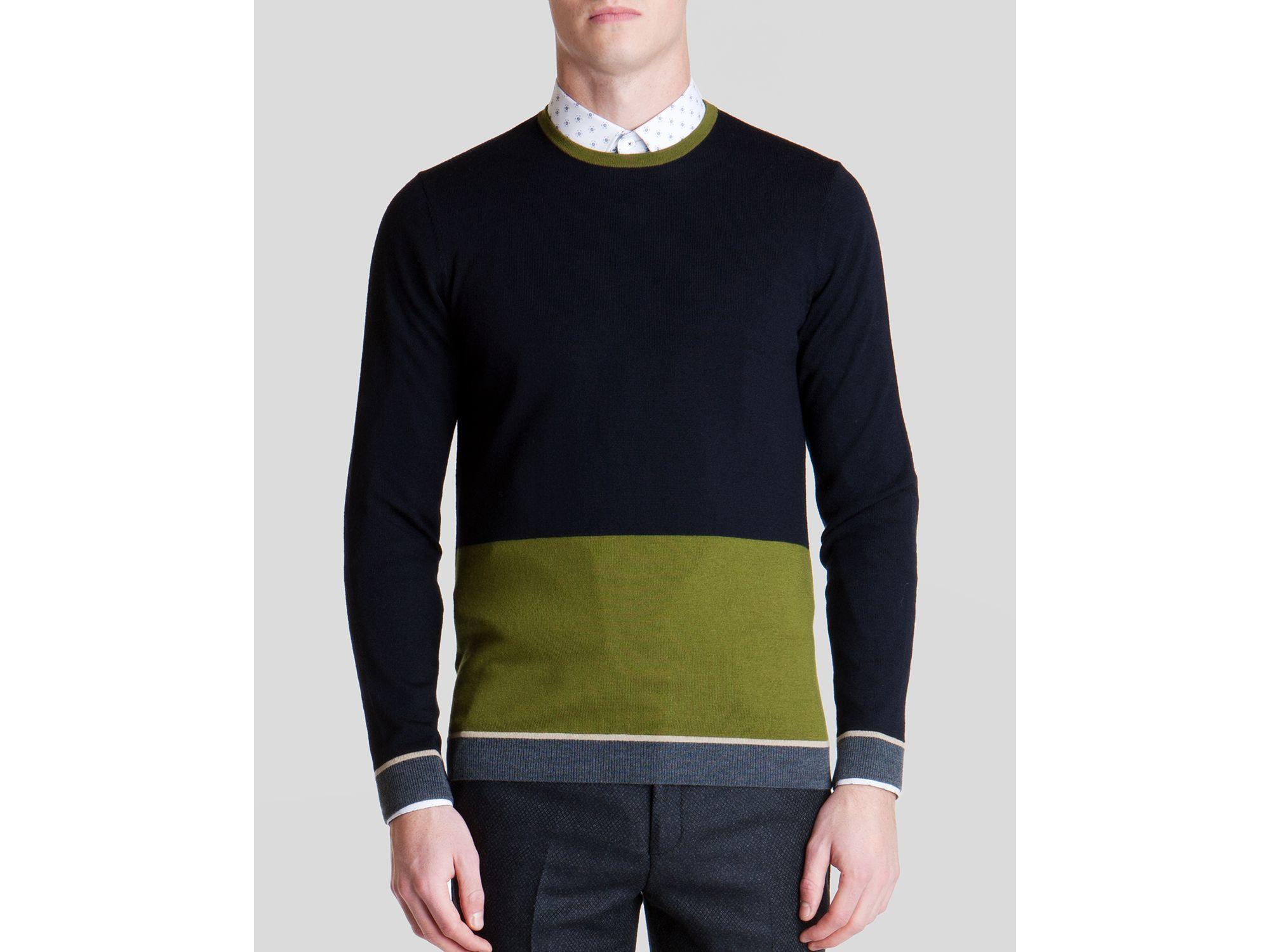 18a45cea0e6725 Lyst - Ted Baker Stelham Merino Wool Color Block Sweater in Blue for Men